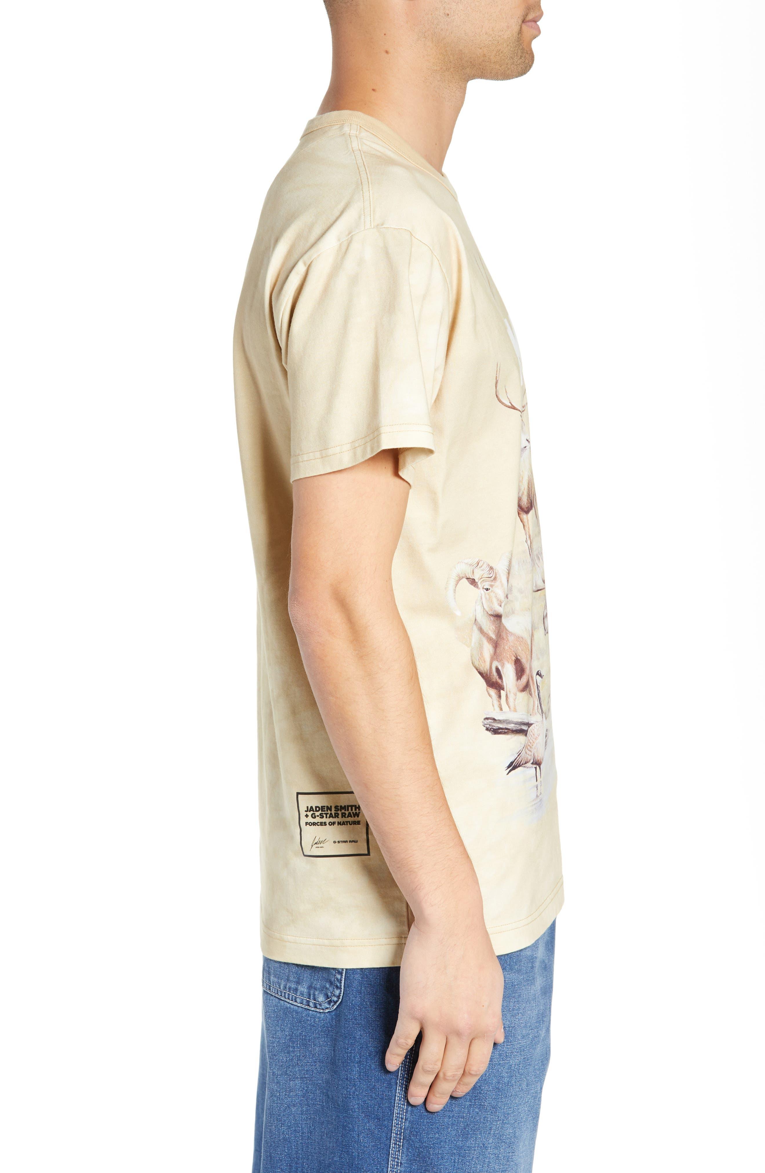 G-Star Cyrer Animal Loose T-Shirt,                             Alternate thumbnail 3, color,                             SAND