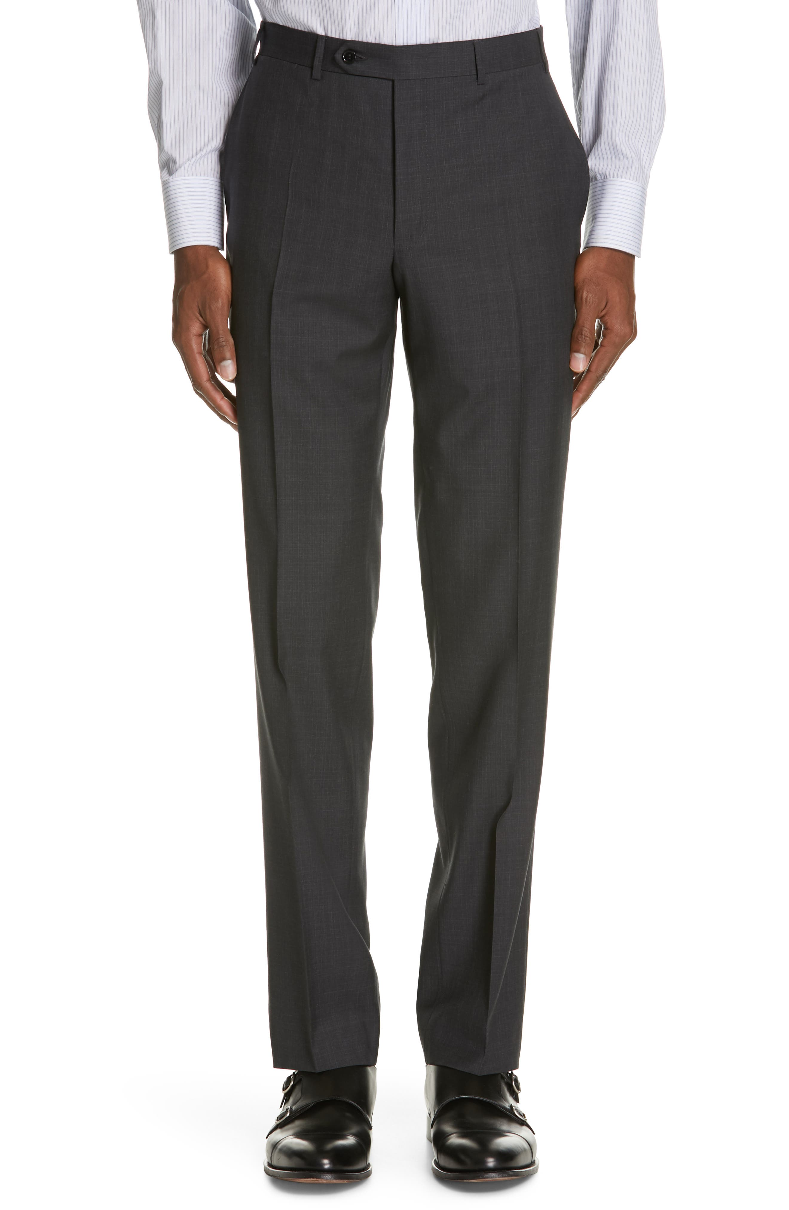 Siena Classic Fit Solid Super 130s Wool Suit,                             Alternate thumbnail 6, color,                             BLACK