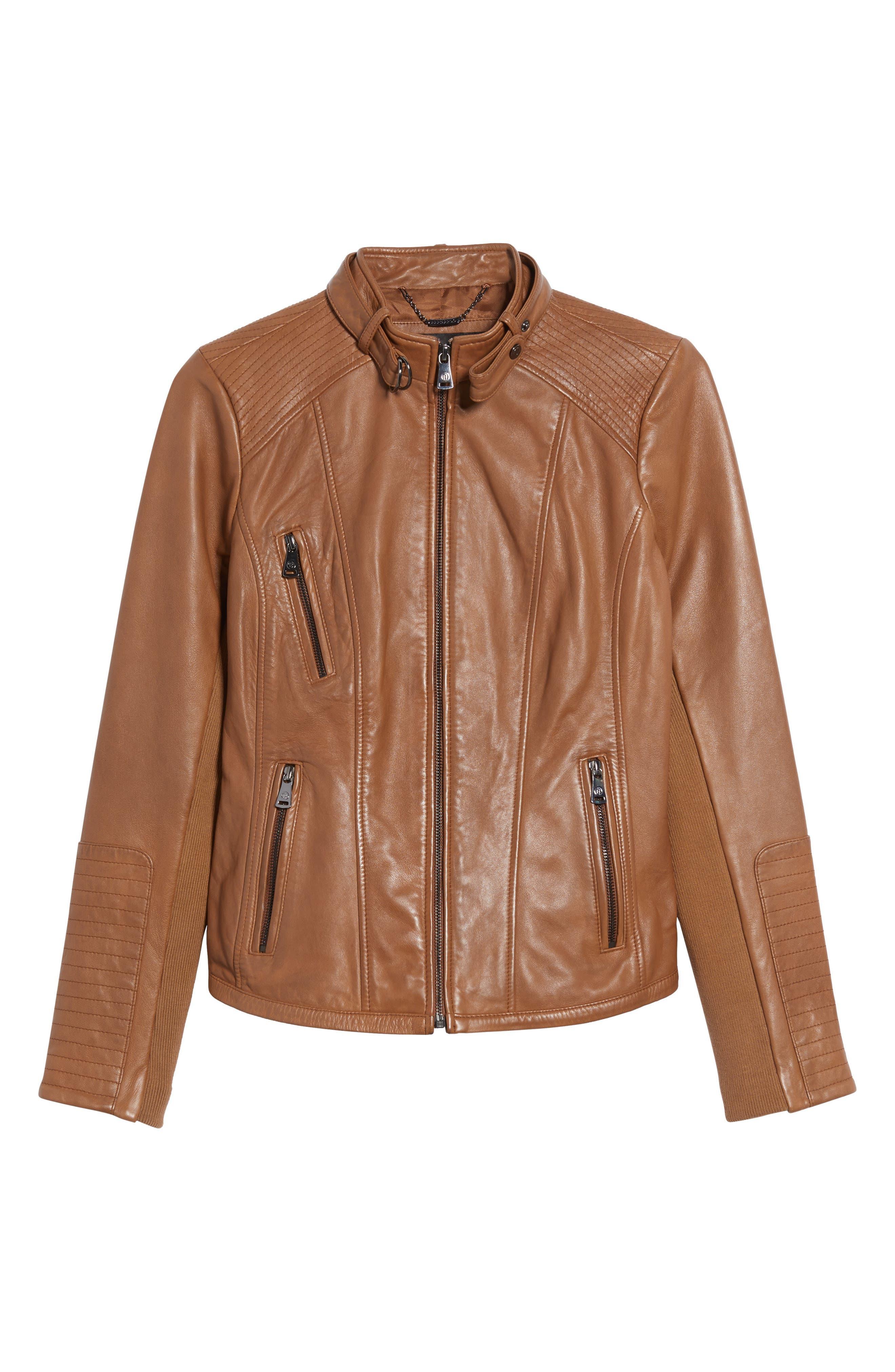 Zip Front Leather Biker Jacket,                             Alternate thumbnail 4, color,