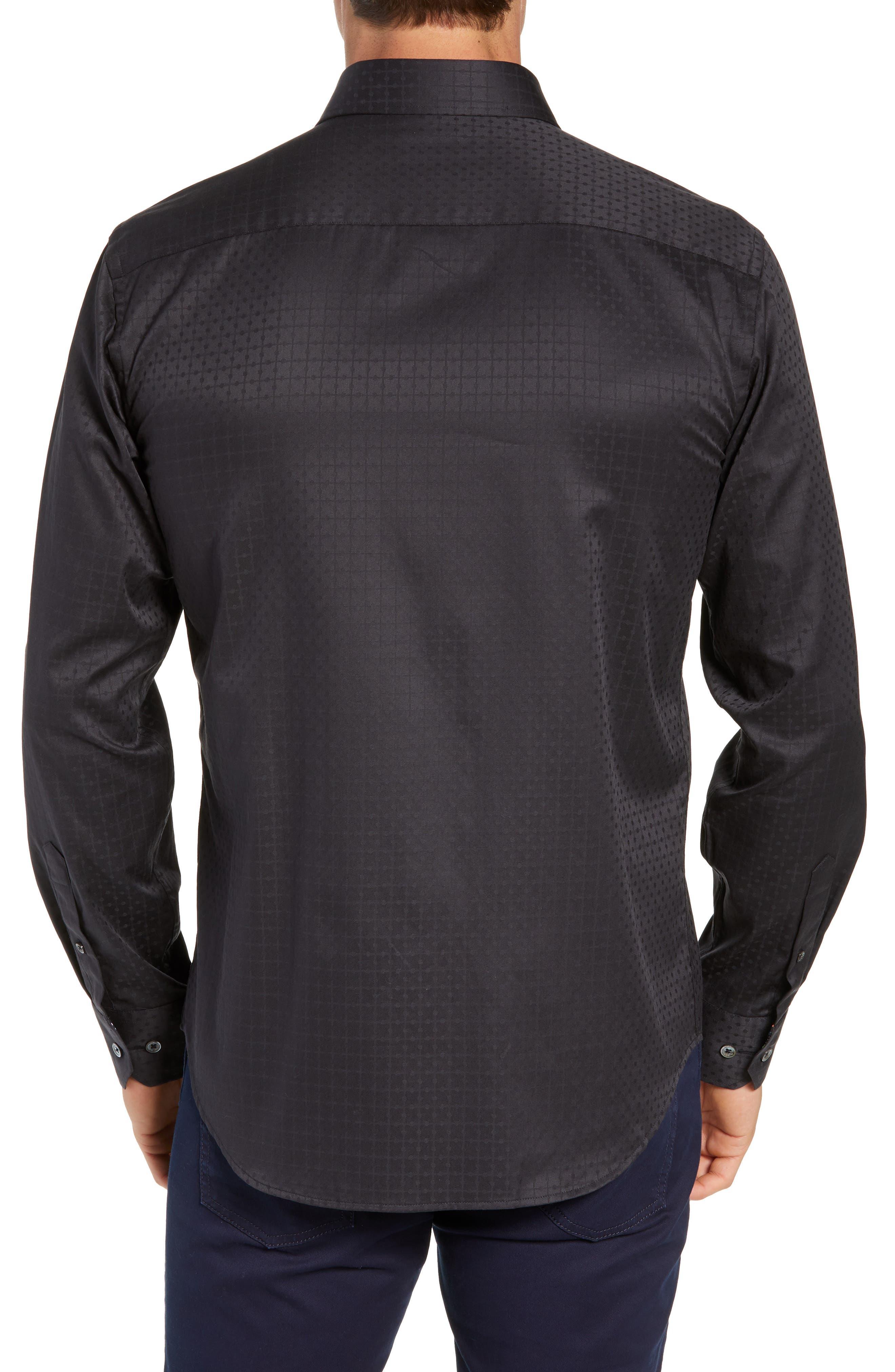 Shaped Fit Sport Shirt,                             Alternate thumbnail 3, color,                             BLACK