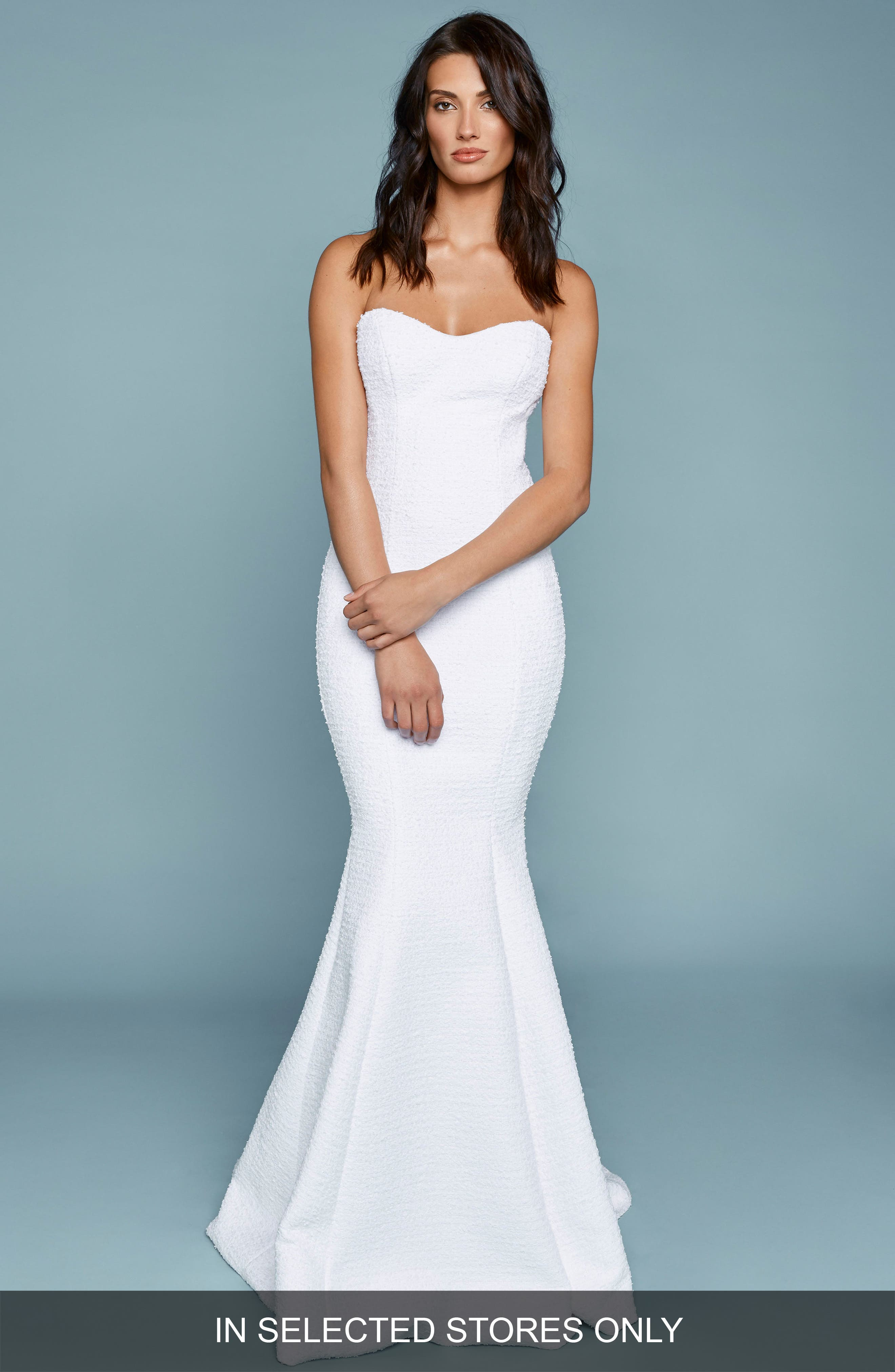 Positano Strapless French Tweed Mermaid Gown,                             Main thumbnail 1, color,                             IVORY