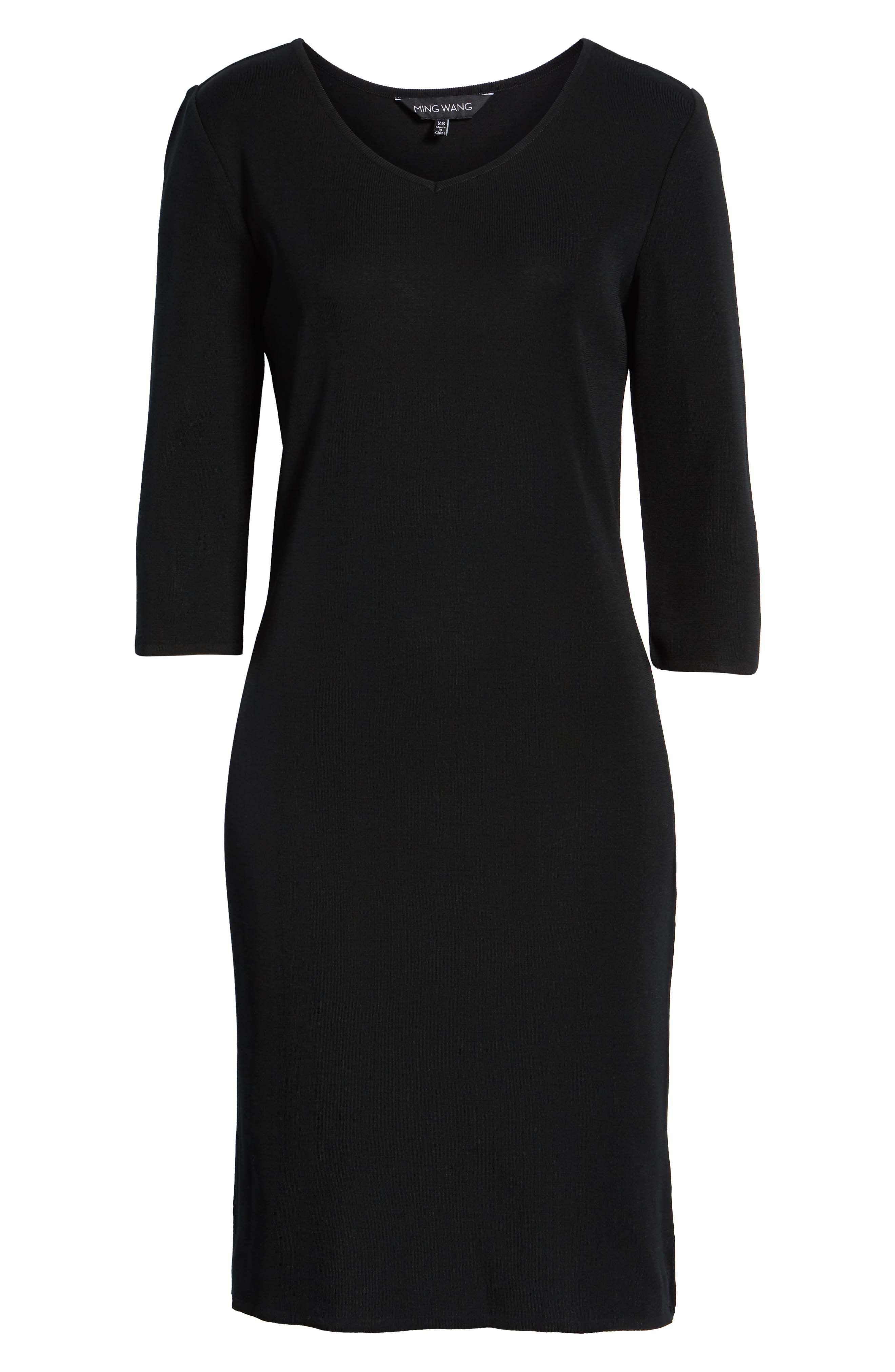 MING WANG,                             V-Neck Dress,                             Alternate thumbnail 7, color,                             BLACK