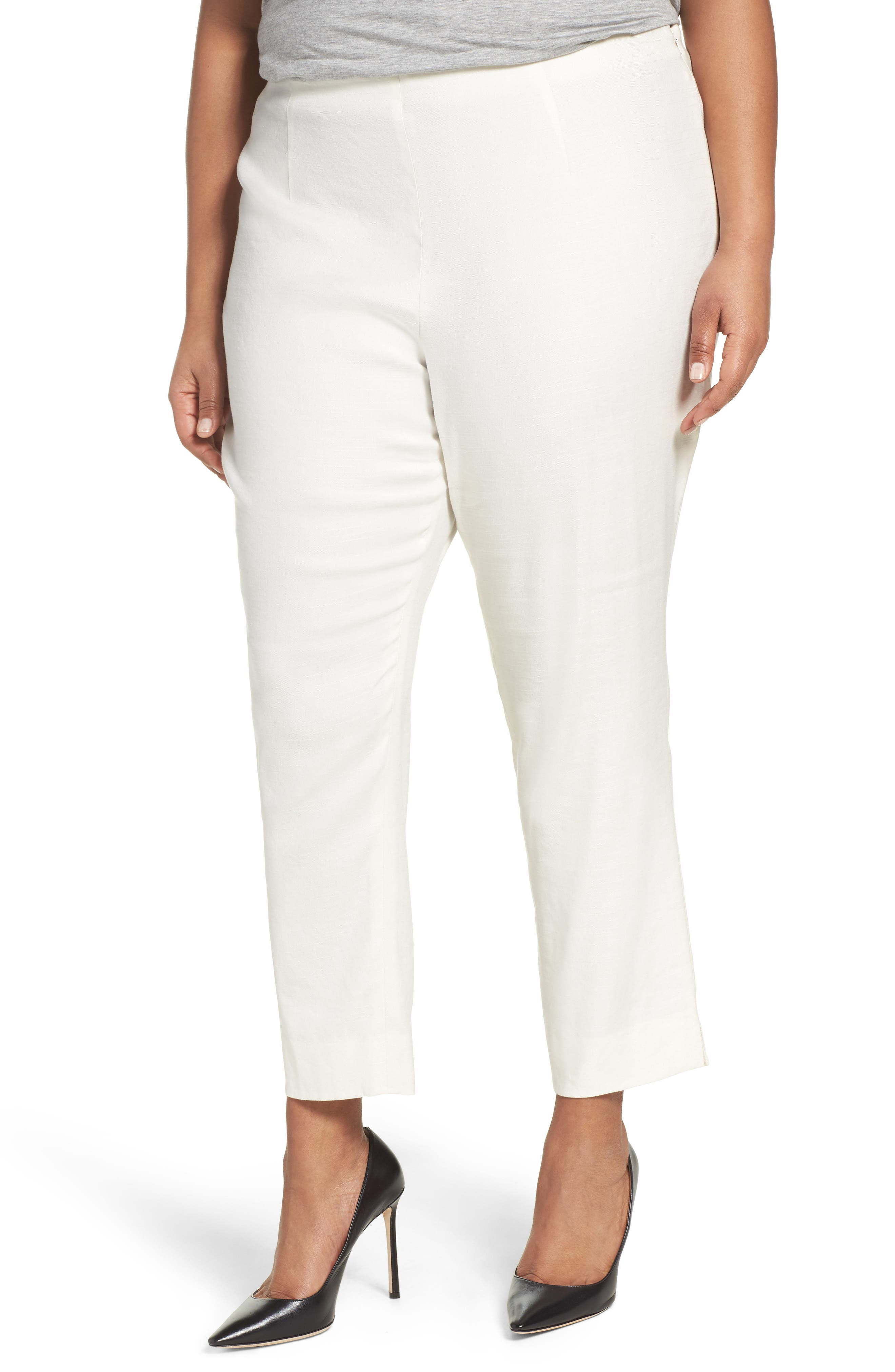 Luxe Linen Blend Pants,                             Main thumbnail 1, color,                             BONE