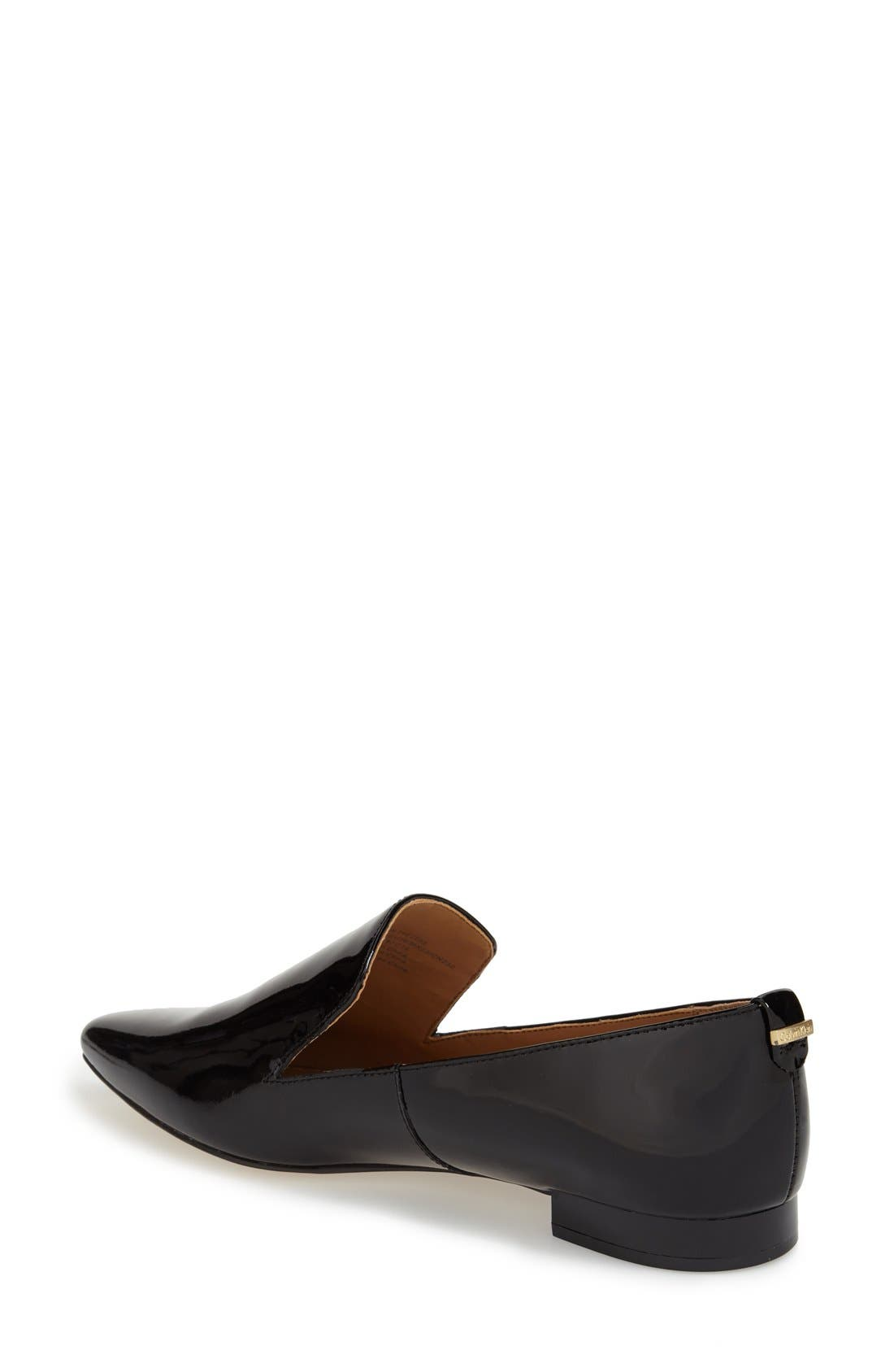 'Elin' Pointy Toe Loafer,                             Alternate thumbnail 3, color,                             BLACK PATENT