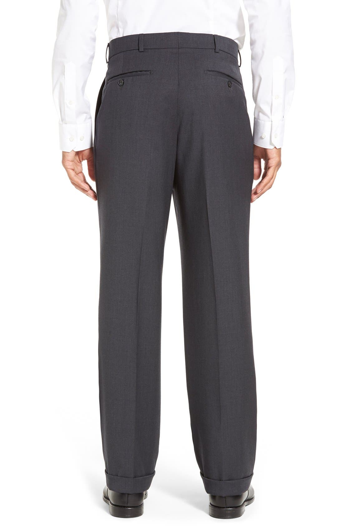 Pleated Solid Wool Trousers,                             Alternate thumbnail 17, color,