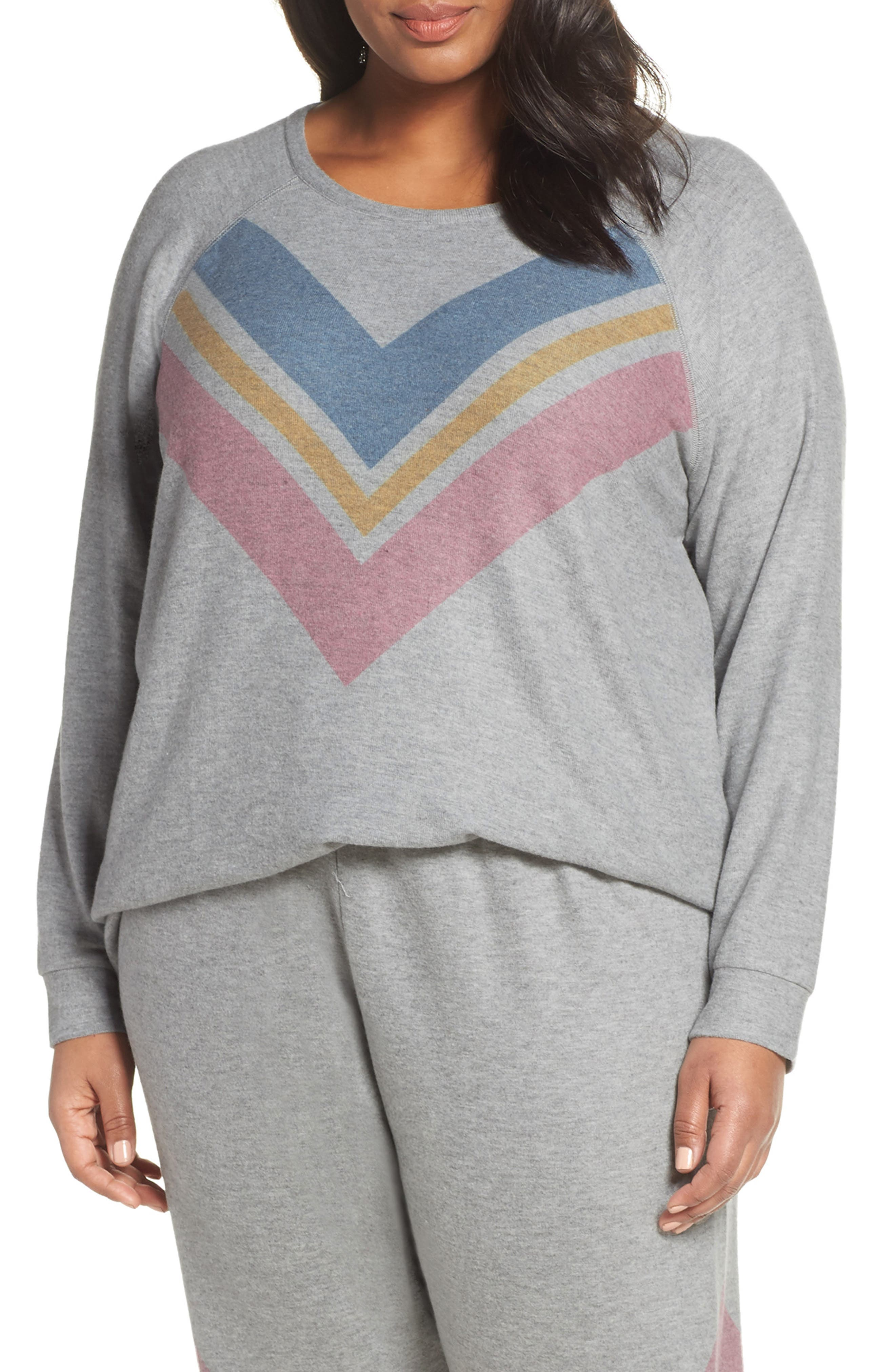 Lounge Essentials Chevron Pullover,                             Main thumbnail 1, color,                             HEATHER GREY