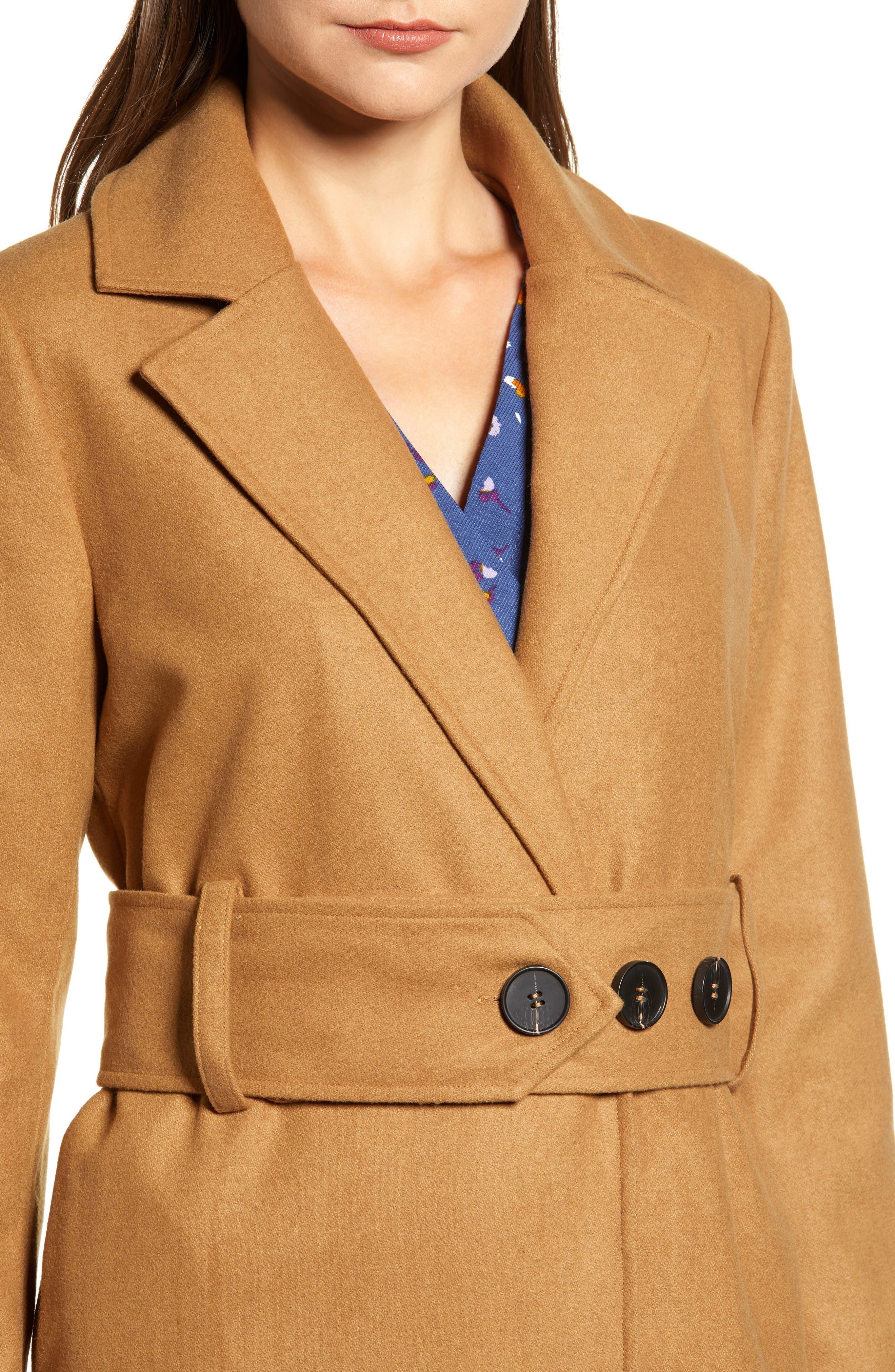 Chriselle Lim Victoria Belted Coat,                             Alternate thumbnail 5, color,                             CAMEL