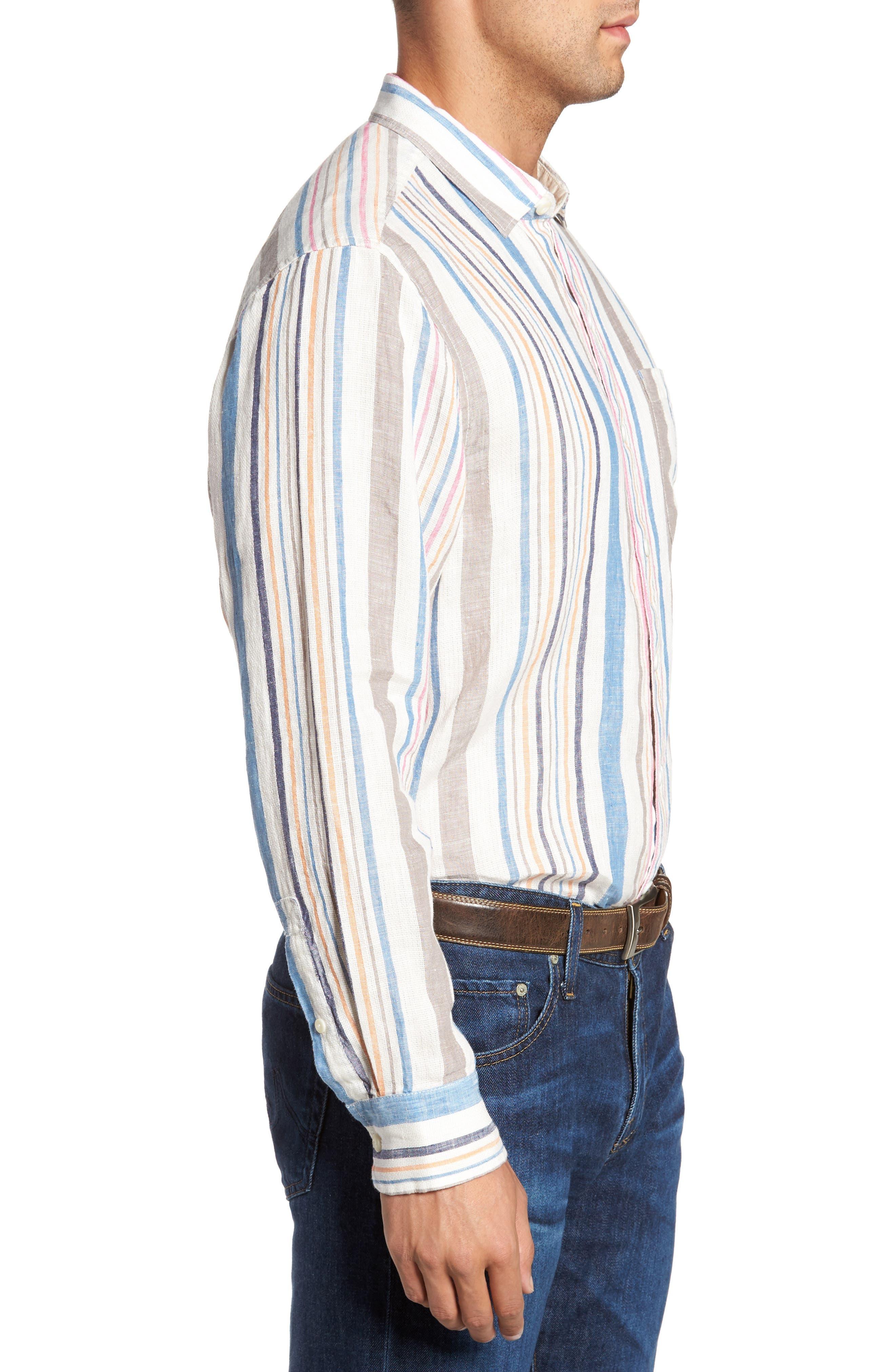 Raffia Stripe Linen Sport Shirt,                             Alternate thumbnail 3, color,                             400