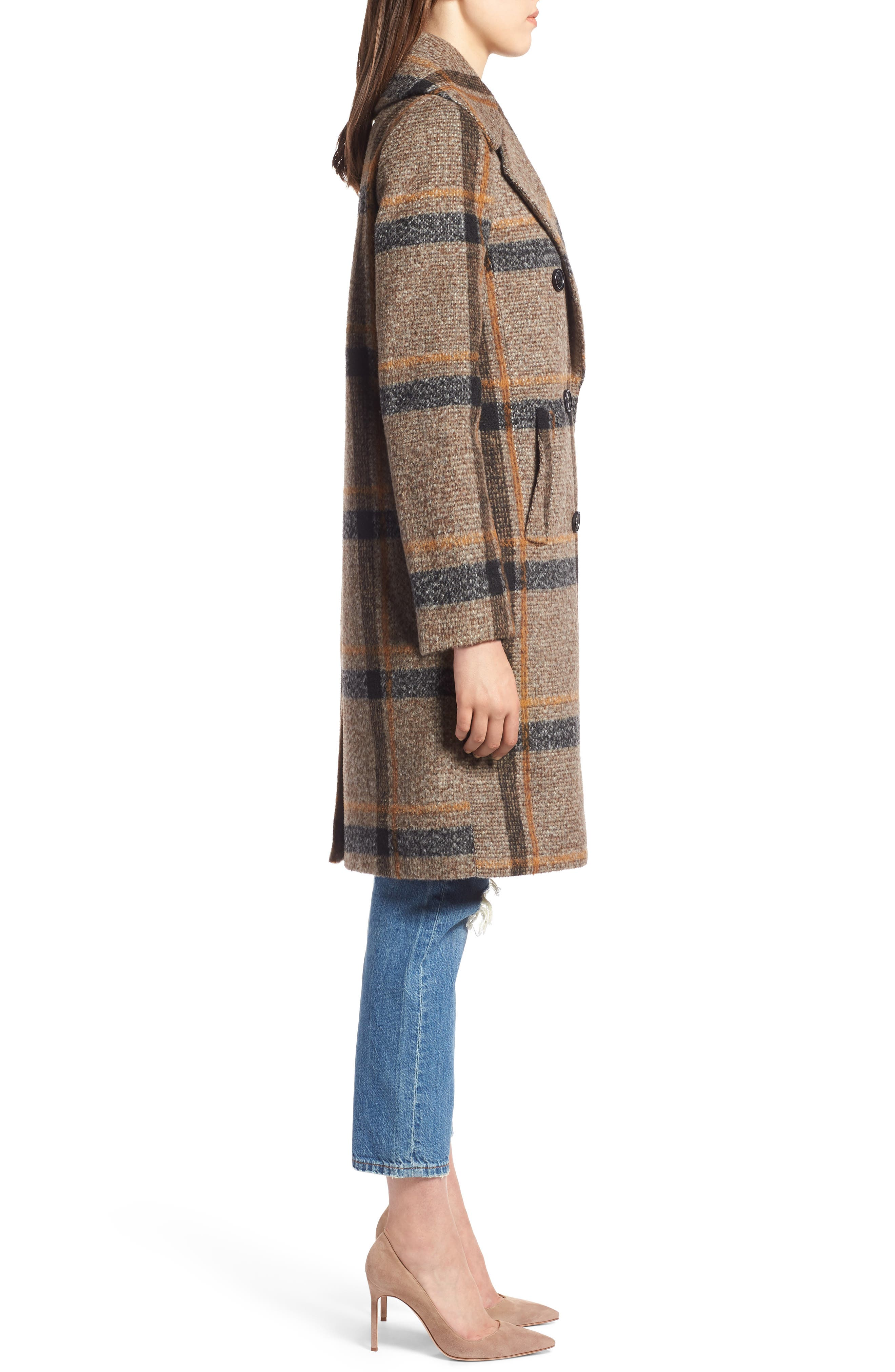 Double Breasted Coat,                             Alternate thumbnail 3, color,                             BROWN PLAID