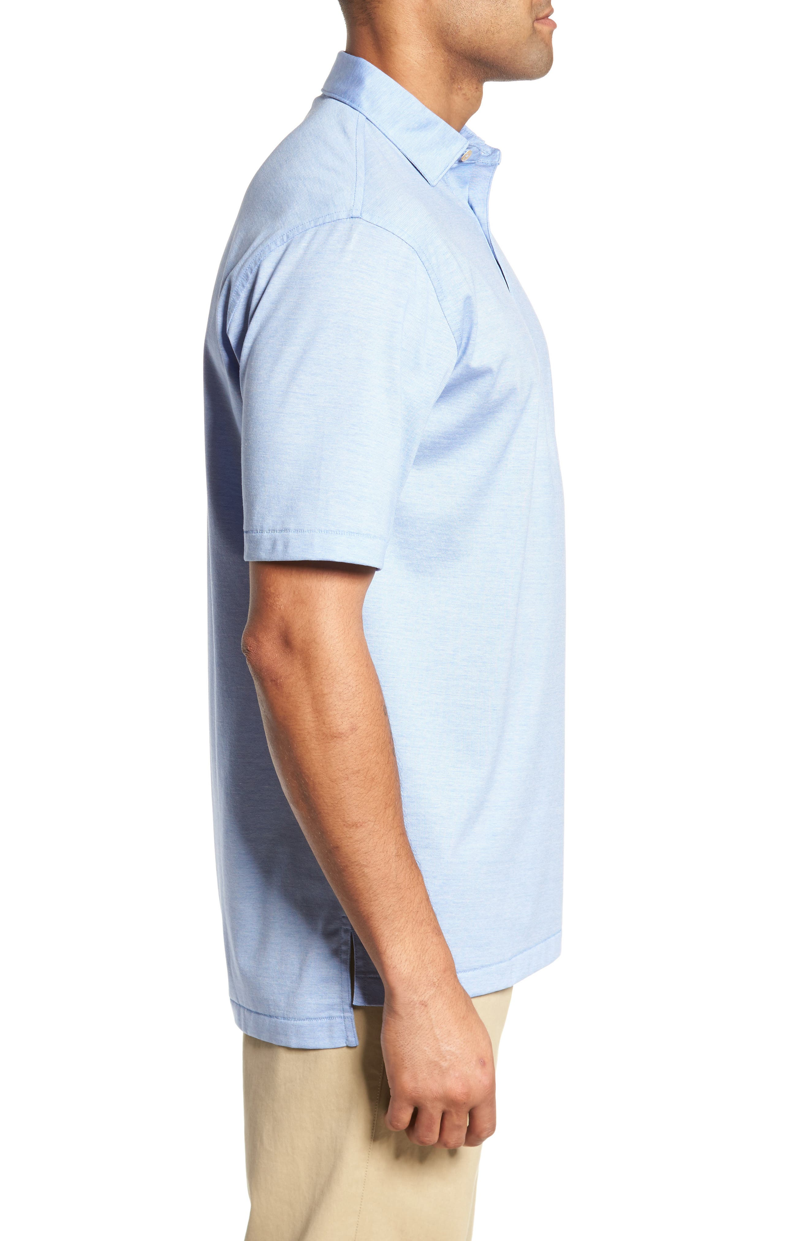 PETER MILLAR,                             Briarwood Stripe Cotton Polo,                             Alternate thumbnail 3, color,                             ATLAS BLUE