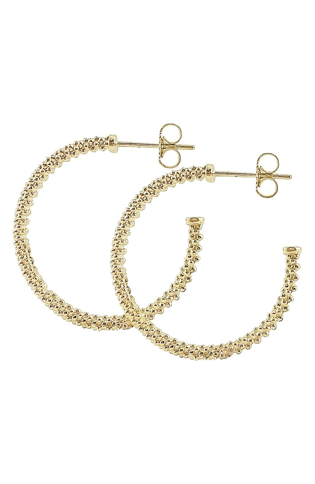 Caviar Hoop Earrings,                             Alternate thumbnail 4, color,                             GOLD