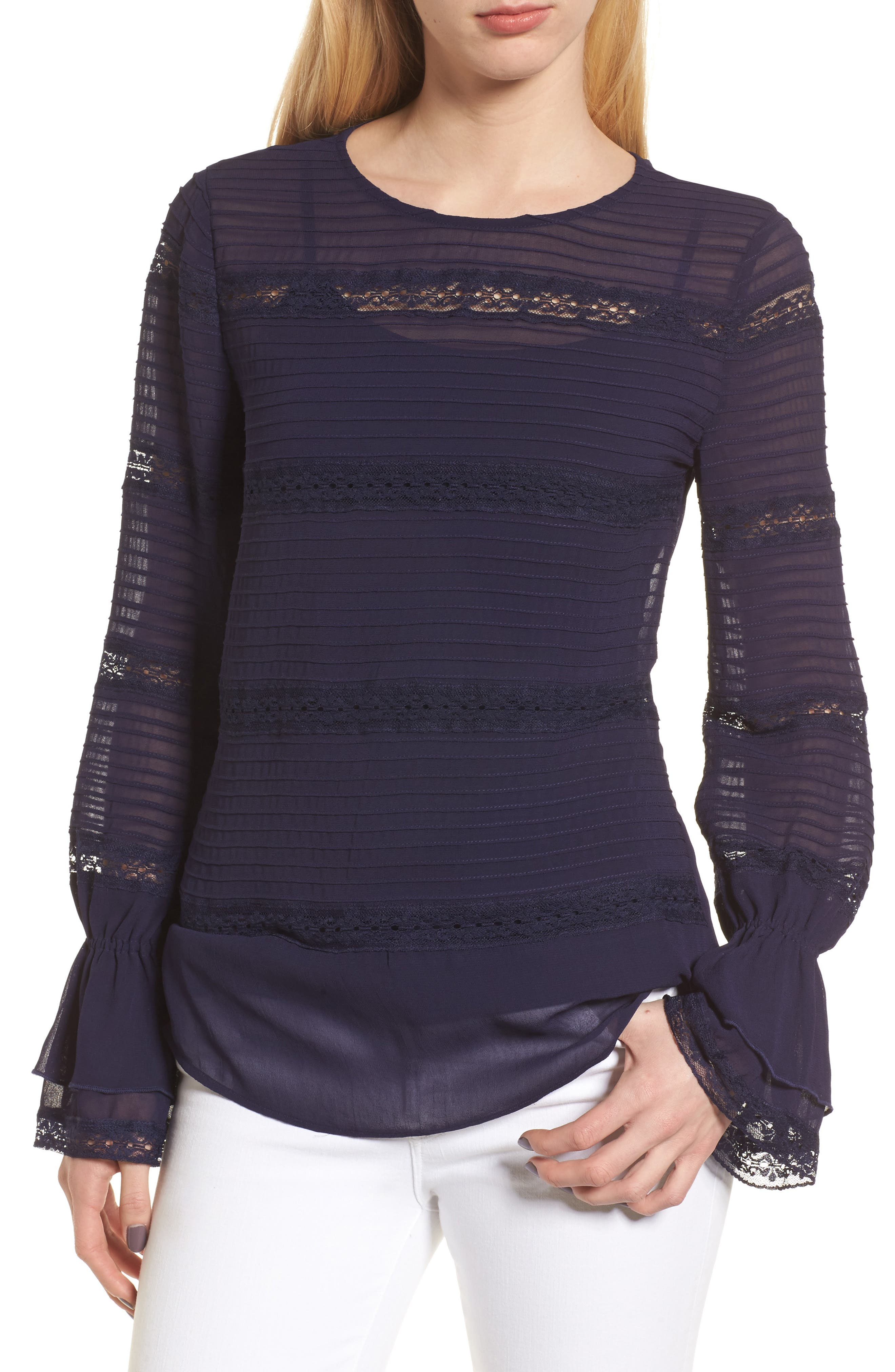 Pintuck & Lace Top,                         Main,                         color,