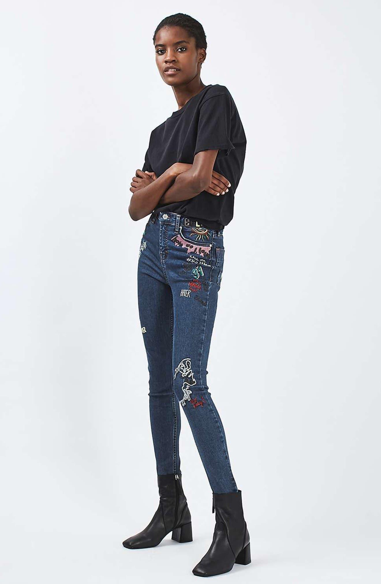 Jamie Scribble High Rise Skinny Jeans,                             Alternate thumbnail 9, color,                             401