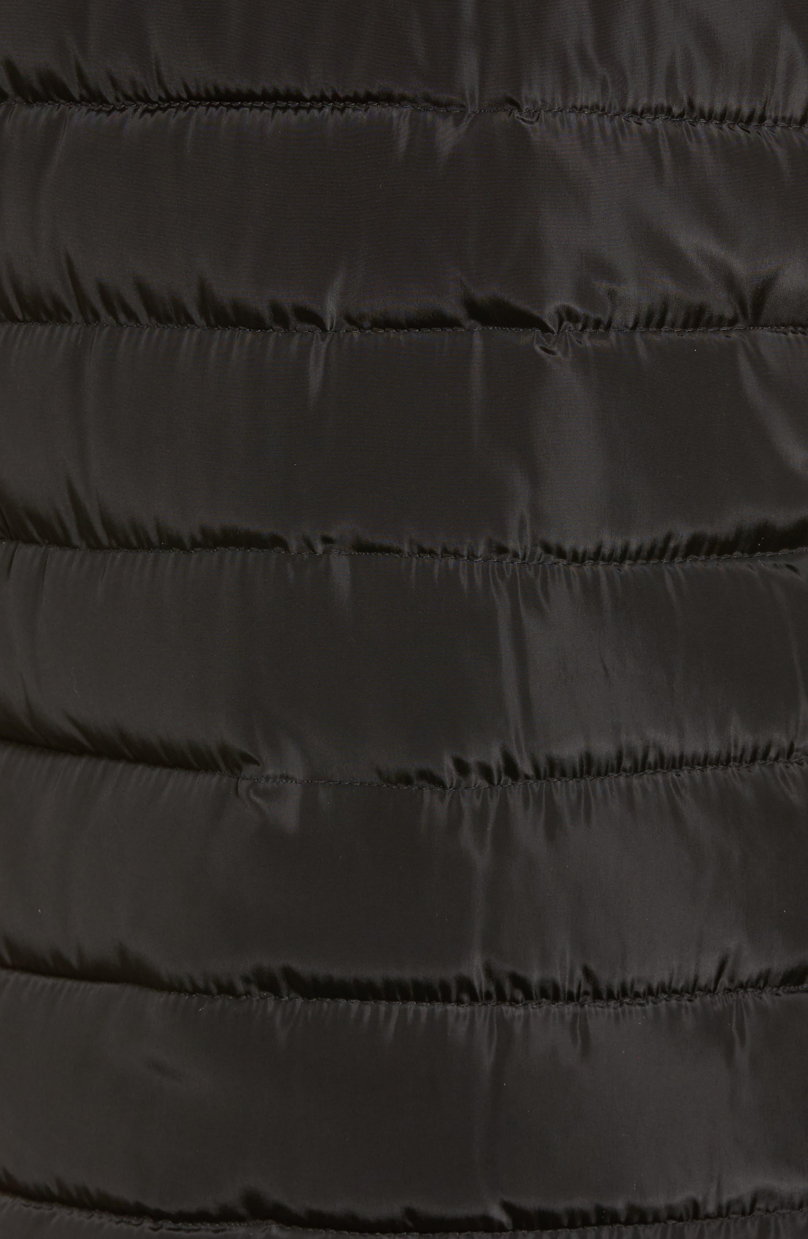 Faux Fur Trim Hooded Quilted Vest,                             Alternate thumbnail 6, color,                             001