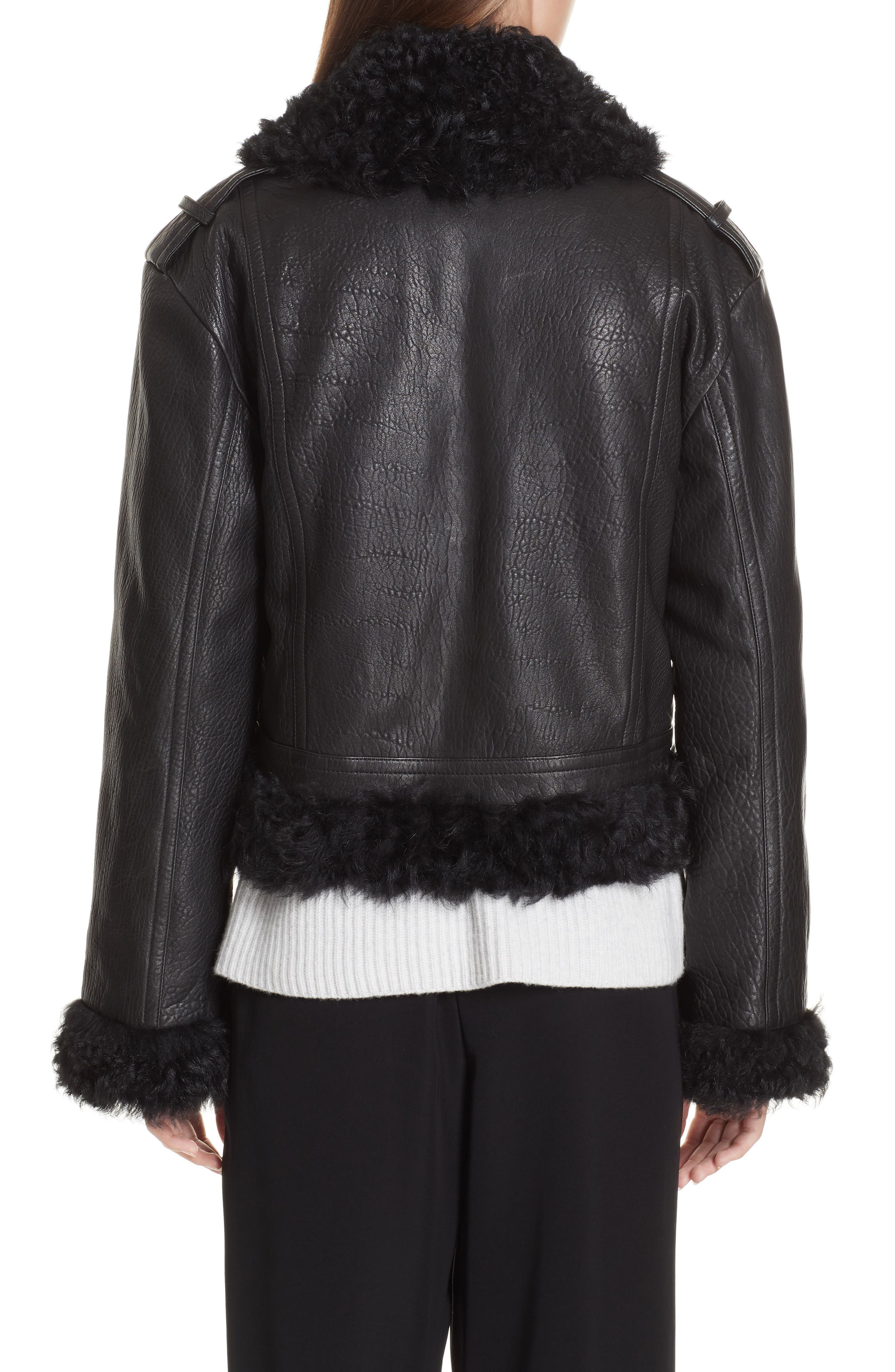 Leather & Genuine Shearling Moto Jacket,                             Alternate thumbnail 2, color,                             BLACK