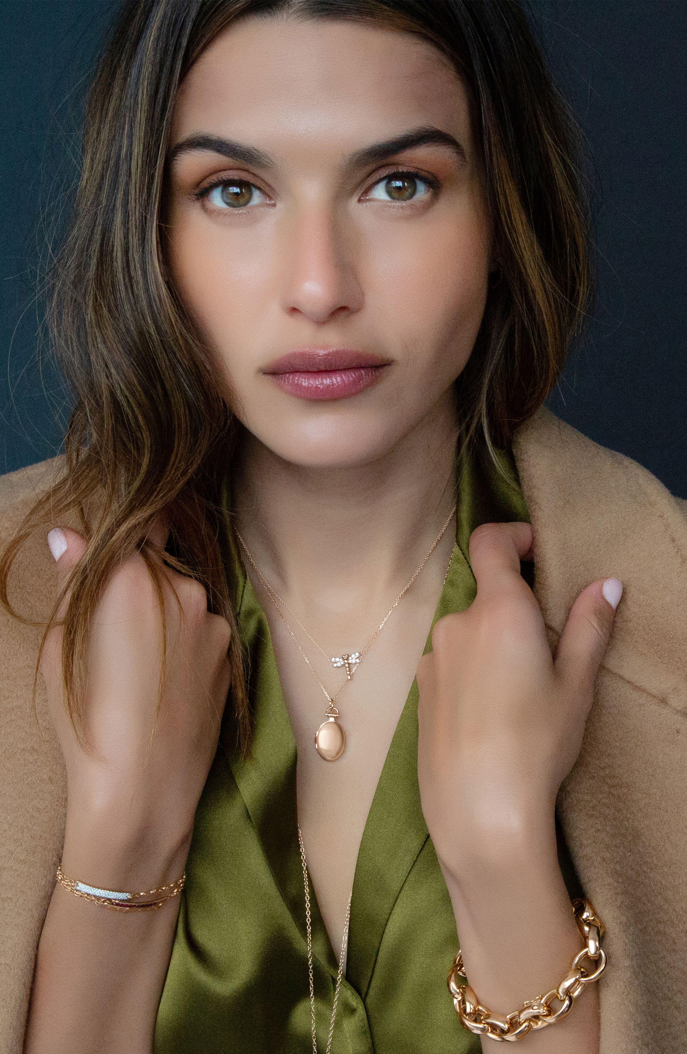 Anna Petite Locket Necklace,                             Alternate thumbnail 2, color,                             18K ROSE GOLD
