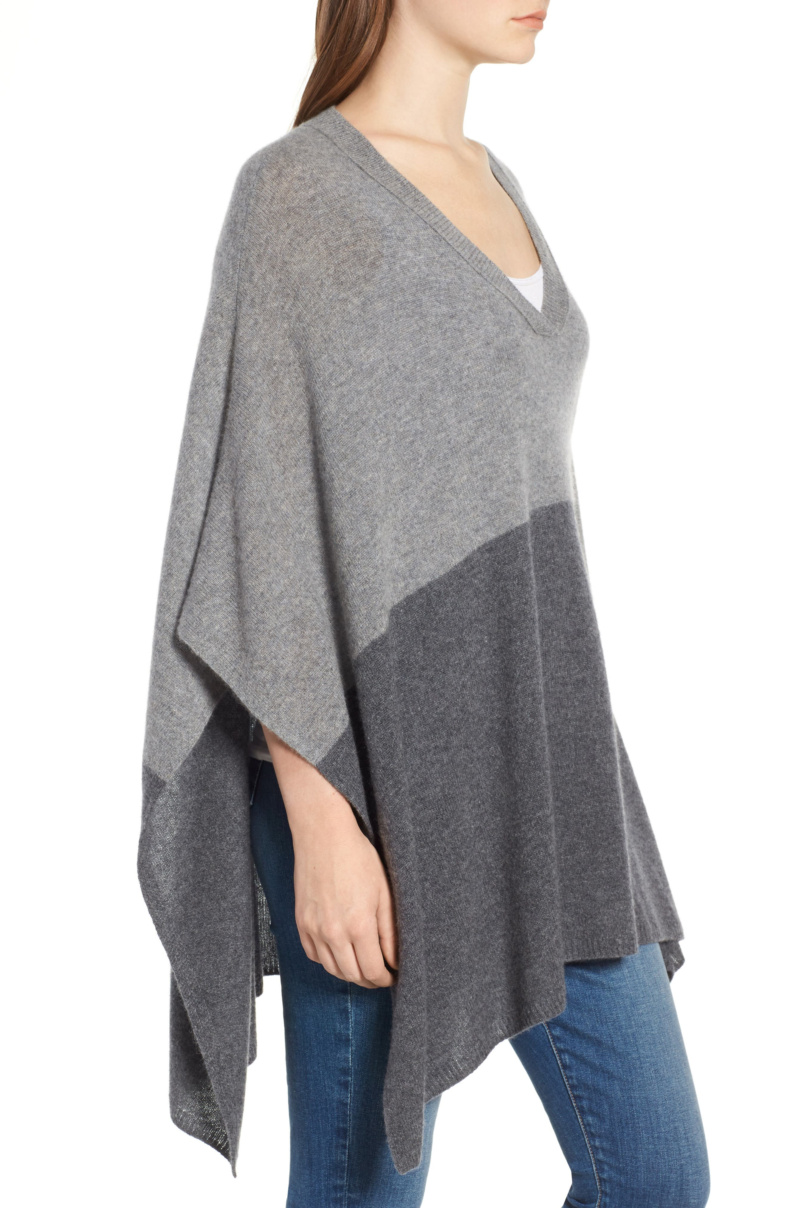 Colorblock Cashmere Poncho,                             Alternate thumbnail 3, color,                             030