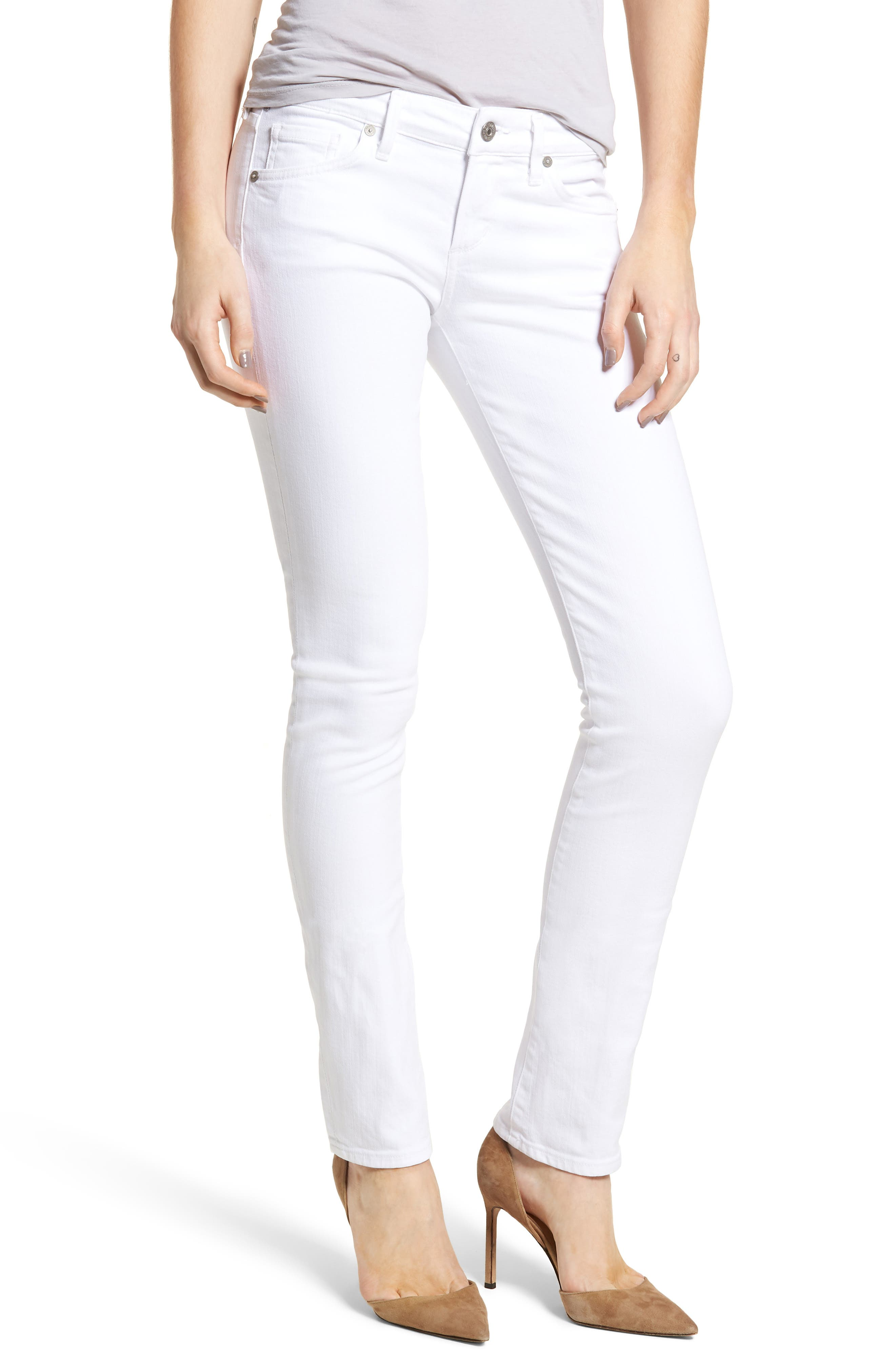 Racer Skinny Jeans,                         Main,                         color, OPTIC WHITE