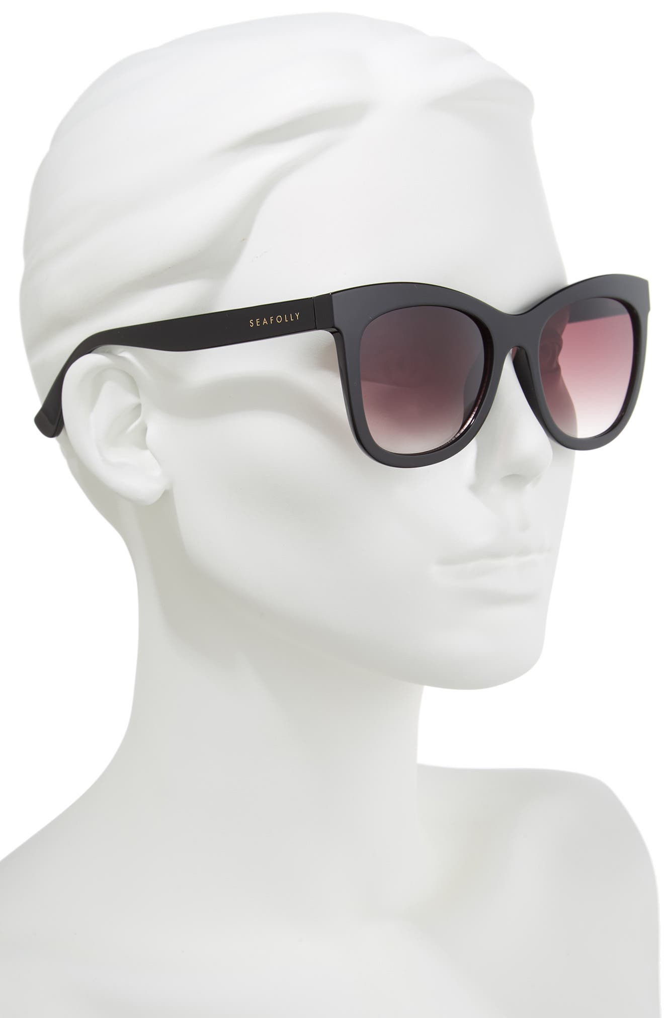 Manly 52mm Cat Eye Sunglasses,                             Alternate thumbnail 2, color,                             BLACK