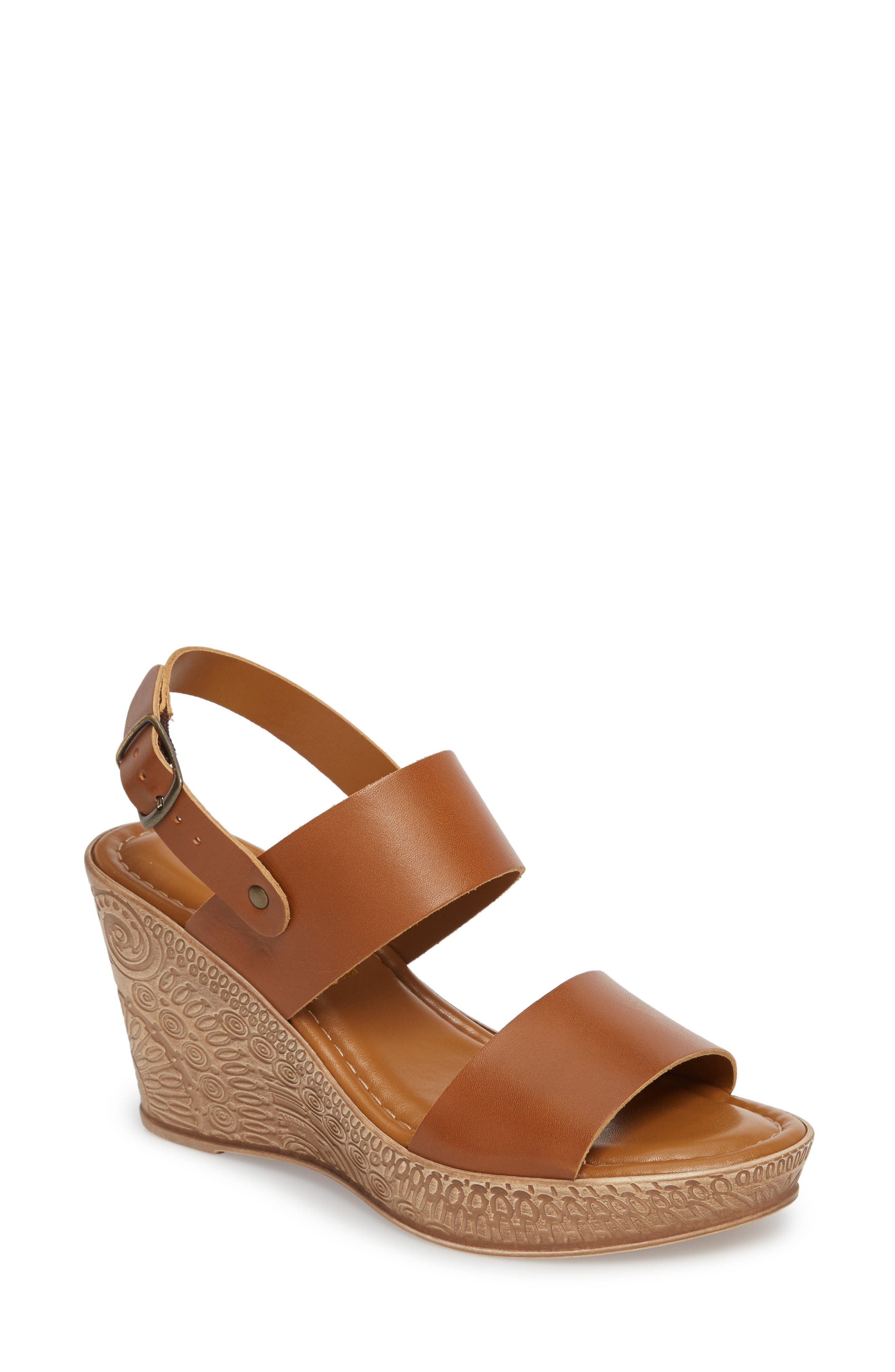 Cor Wedge Sandal,                         Main,                         color, WHISKEY LEATHER