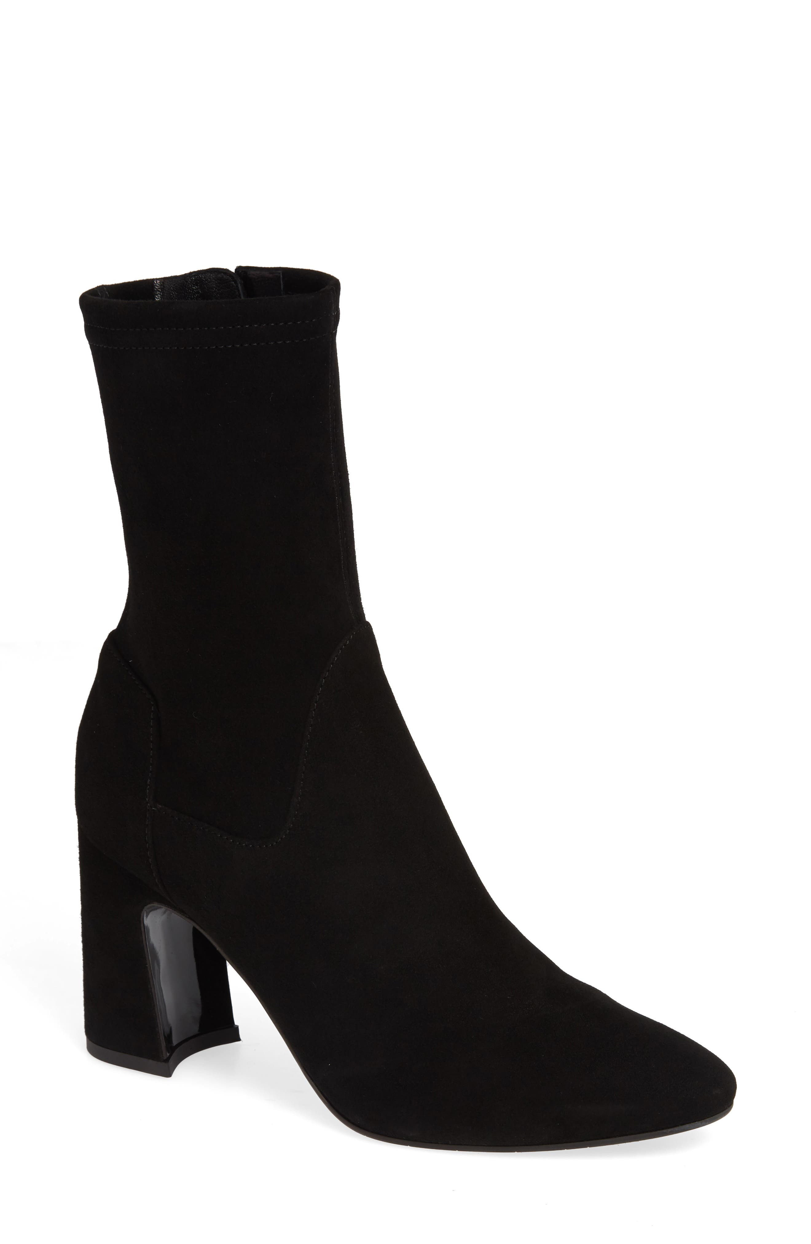 Nastasia Stretch Suede Boot,                             Main thumbnail 1, color,                             BLACK SUEDE