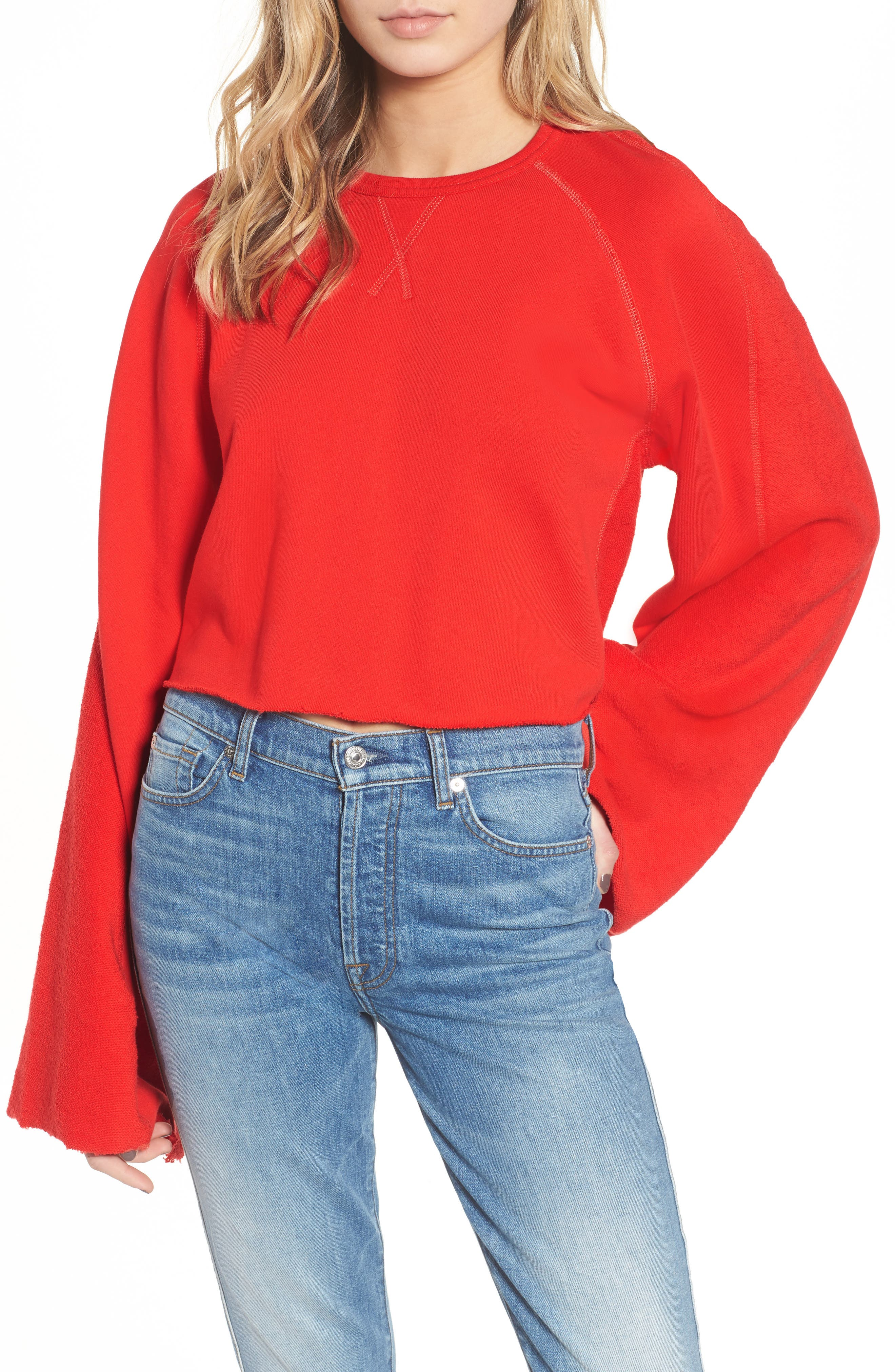 Flare Sleeve Crop Sweatshirt,                             Main thumbnail 1, color,