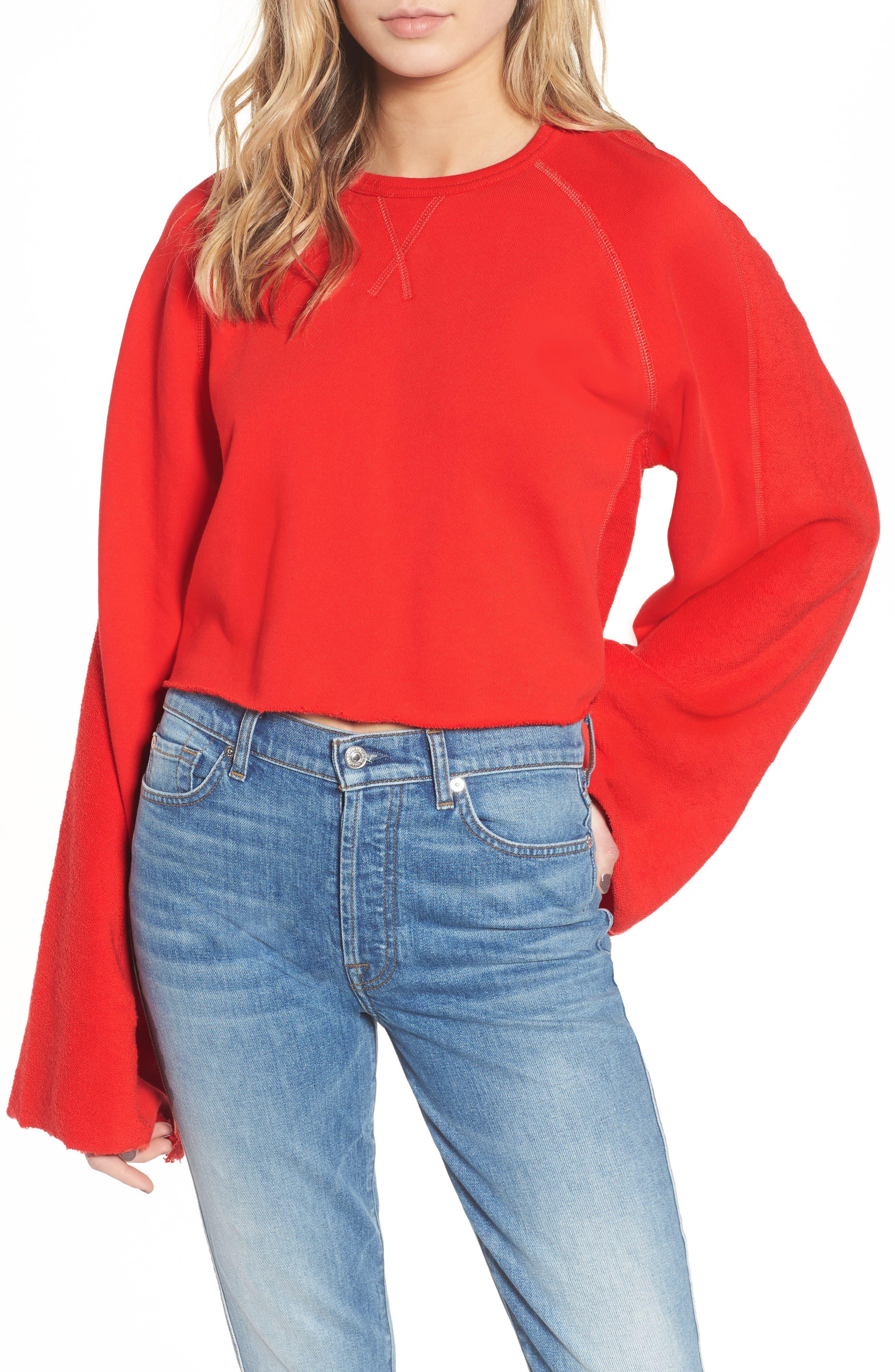 Flare Sleeve Crop Sweatshirt,                         Main,                         color,
