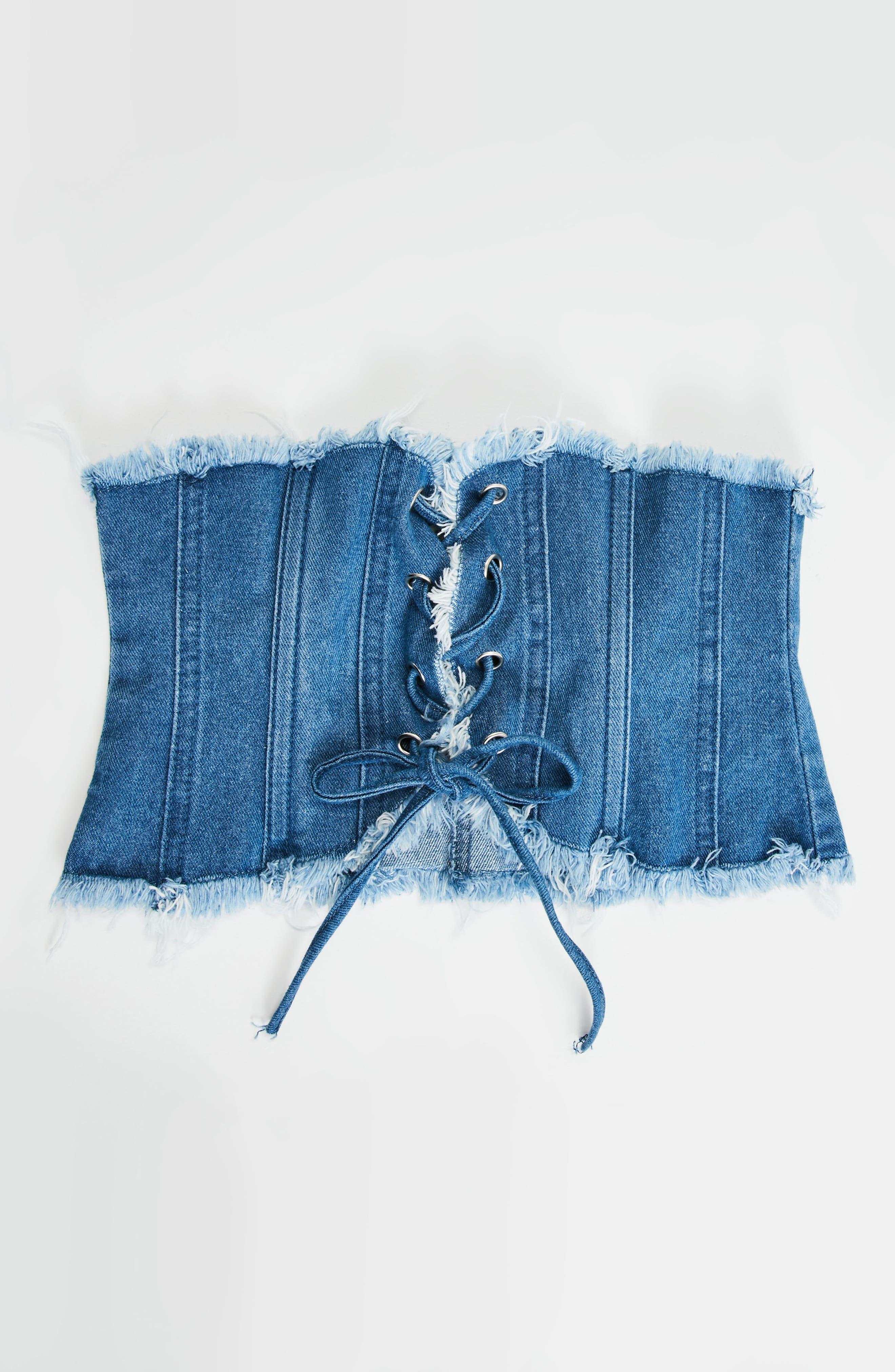 Frayed Edge Lace-Up Denim Belt,                             Alternate thumbnail 3, color,                             400