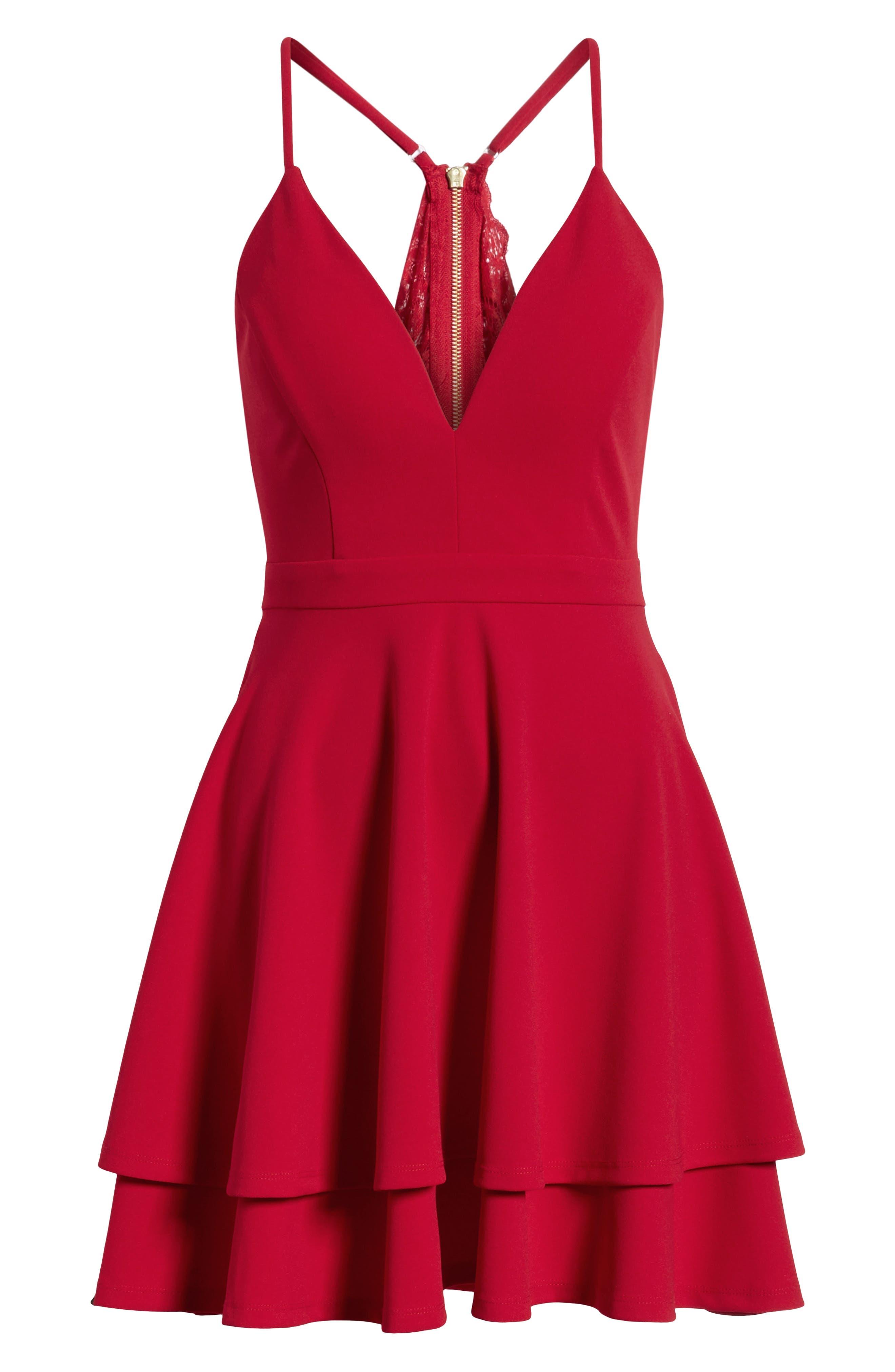 LOVE, NICKIE LEW,                             V-Neck Skater Dress,                             Alternate thumbnail 8, color,                             RED