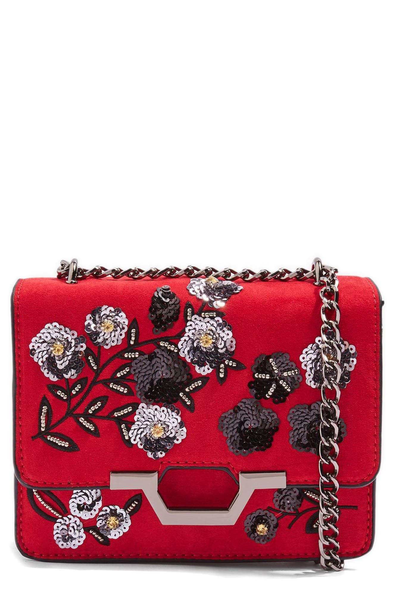 Kylie Embellished Faux Suede Crossbody Bag,                             Main thumbnail 1, color,                             601