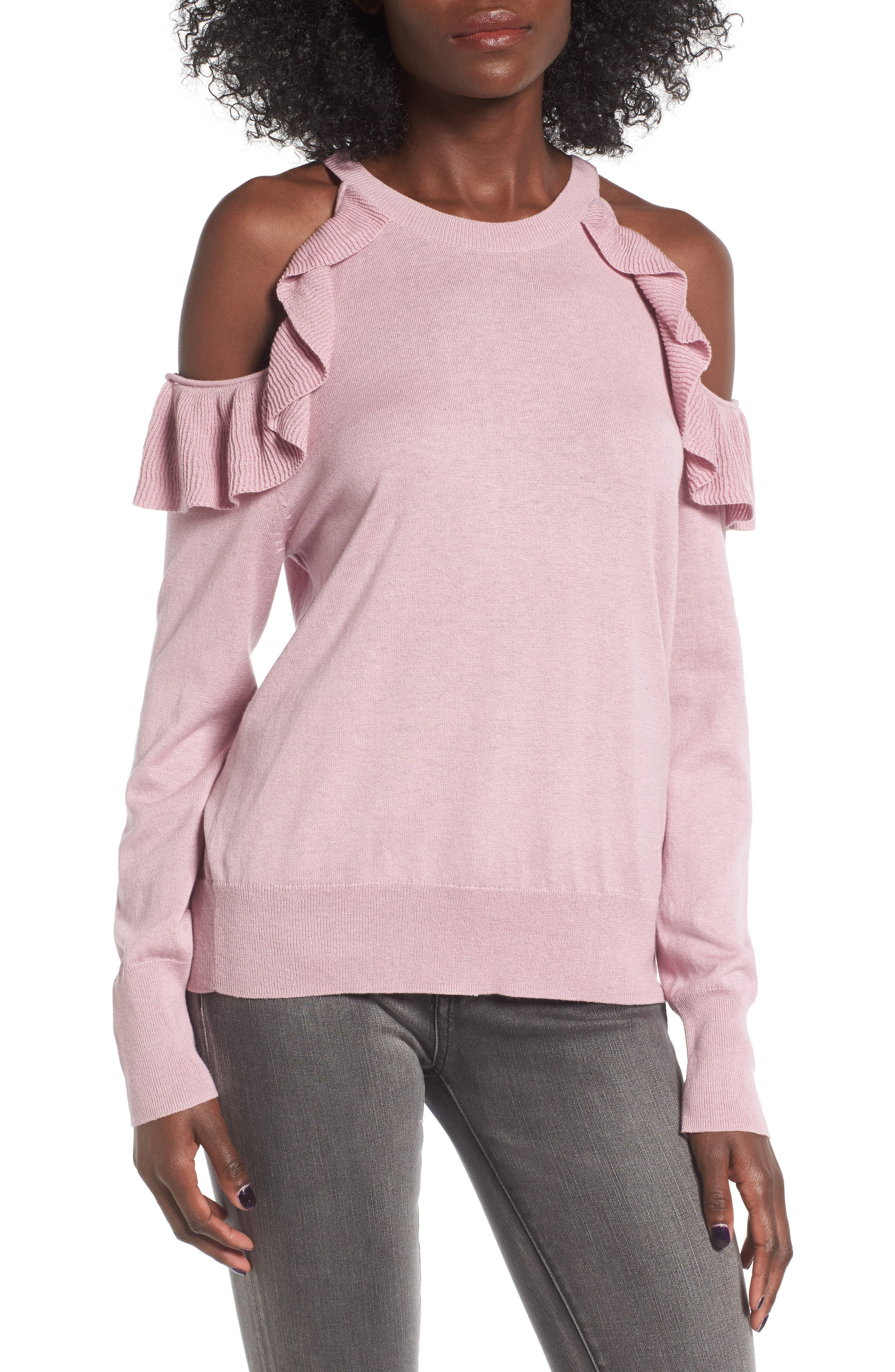 Ruffle Cold Shoulder Pullover,                             Main thumbnail 1, color,                             680