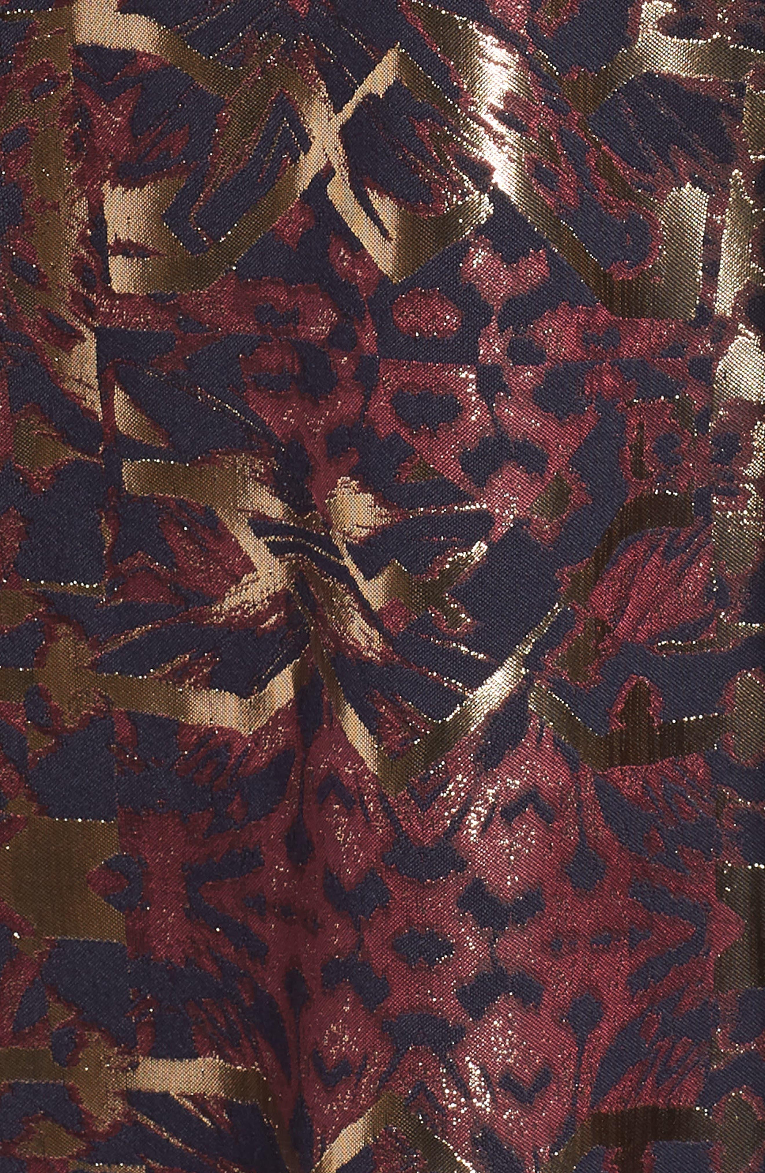Metallic Jacquard Fit & Flare Dress,                             Alternate thumbnail 6, color,                             PINK MULTI