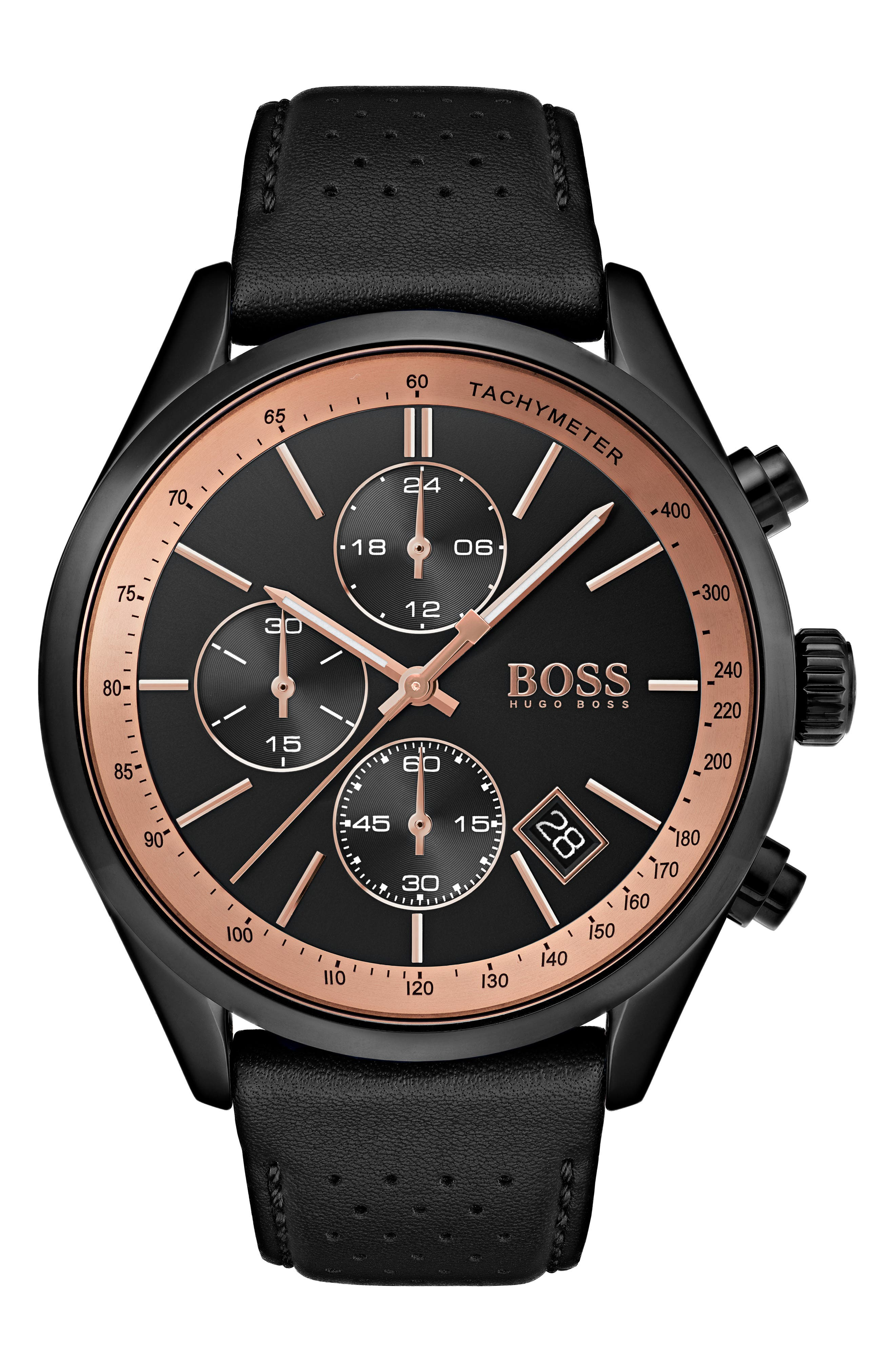 Men's Boss Grand Prix Leather Strap Chronograph Watch, 44Mm