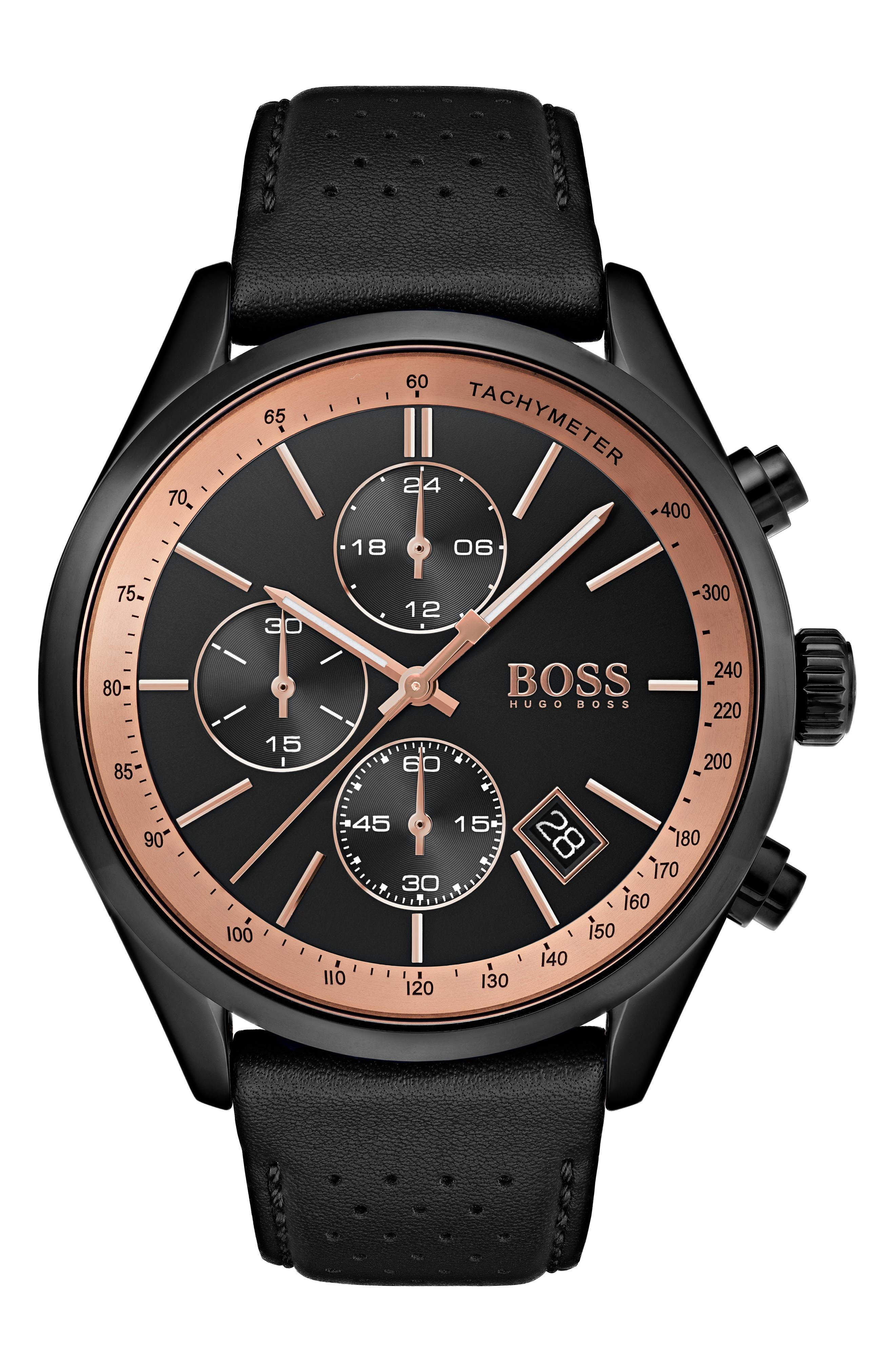 Grand Prix Leather Strap Chronograph Watch, 44mm,                             Main thumbnail 1, color,                             BLACK/ BLACK