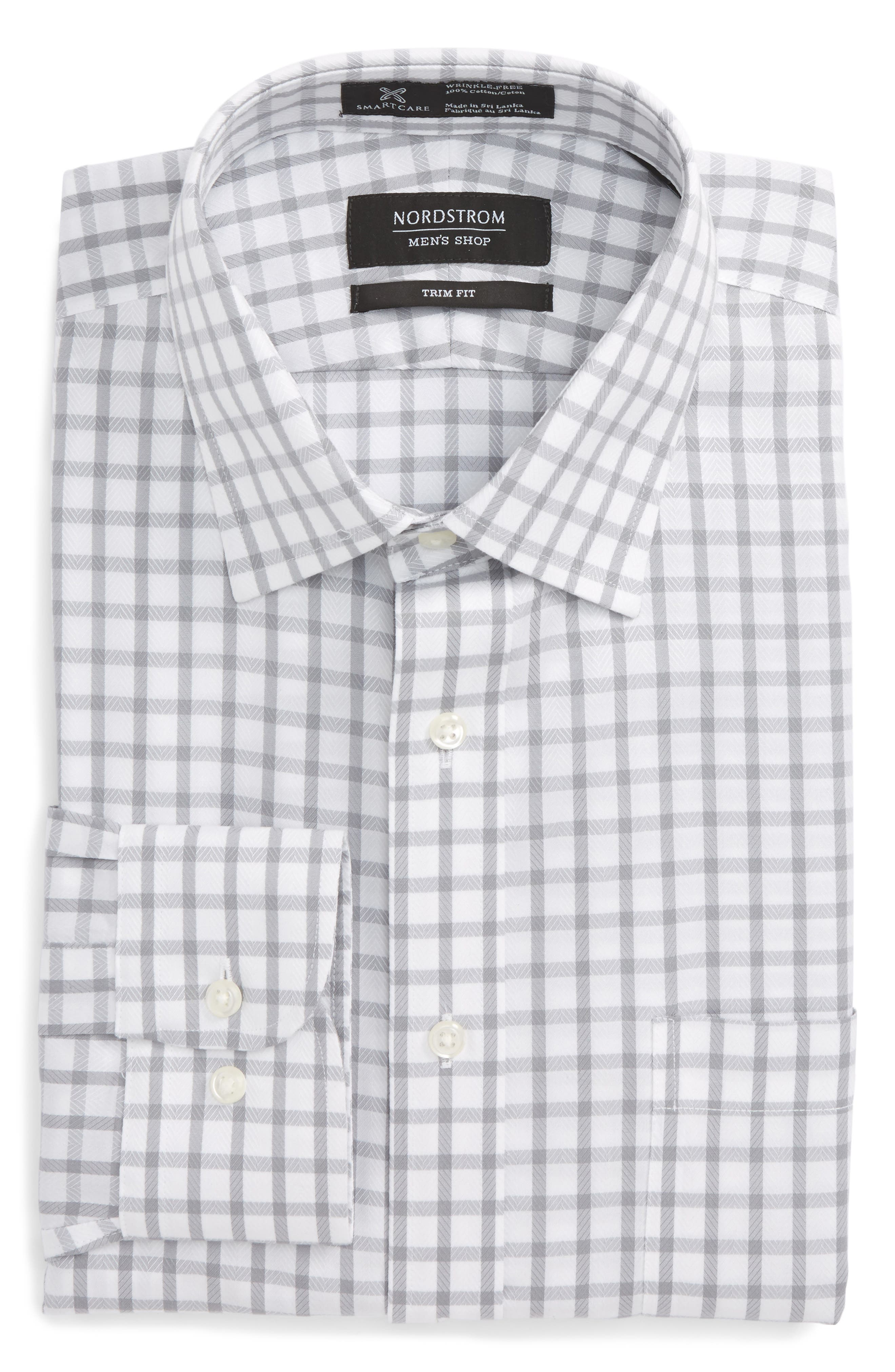 Smartcare<sup>™</sup> Trim Fit Check Dress Shirt,                             Alternate thumbnail 5, color,                             050