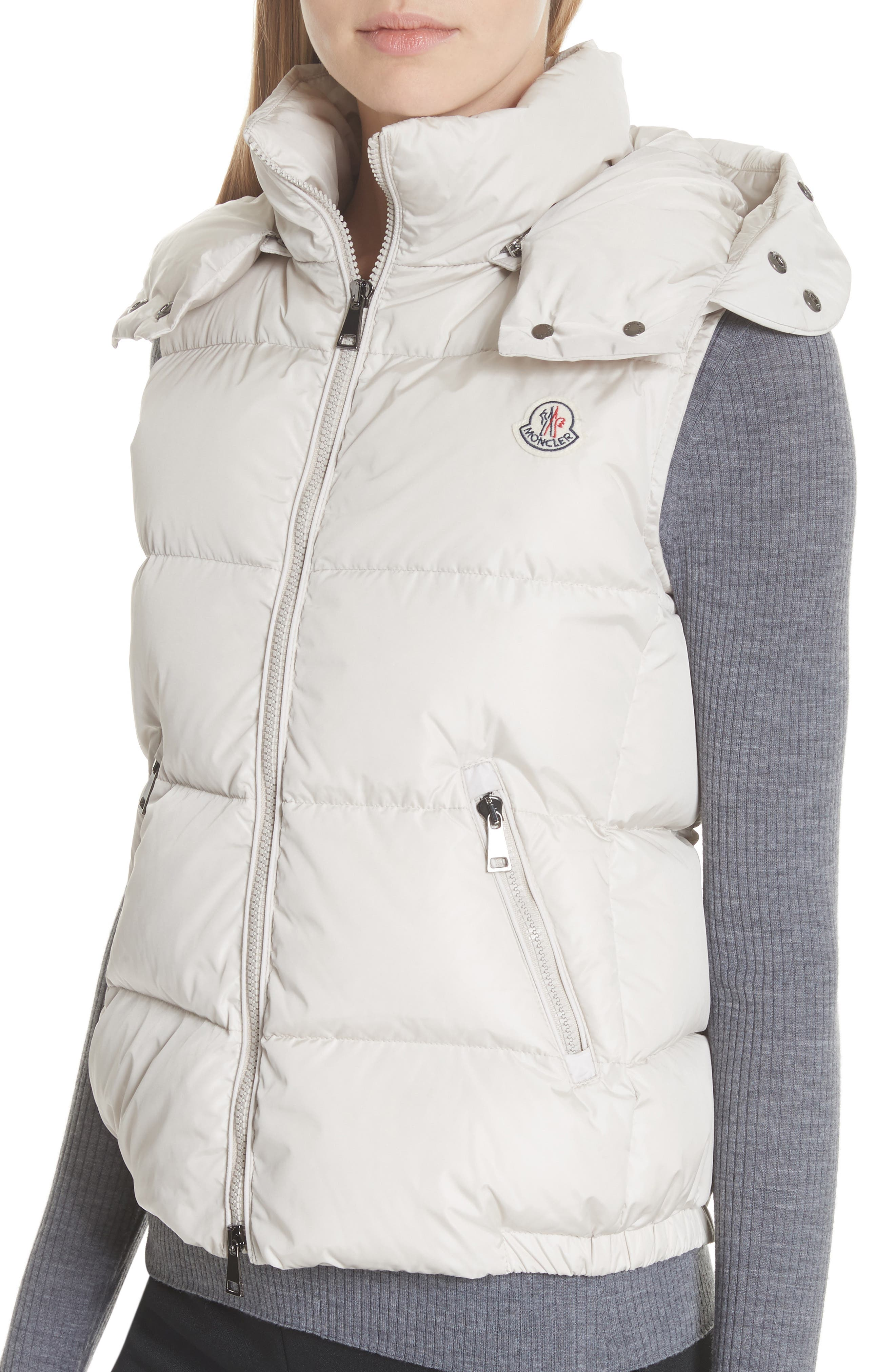 Gallinule Quilted Down Vest with Detachable Genuine Fox Fur Trim Hood,                             Alternate thumbnail 5, color,                             CHAMPAGNE