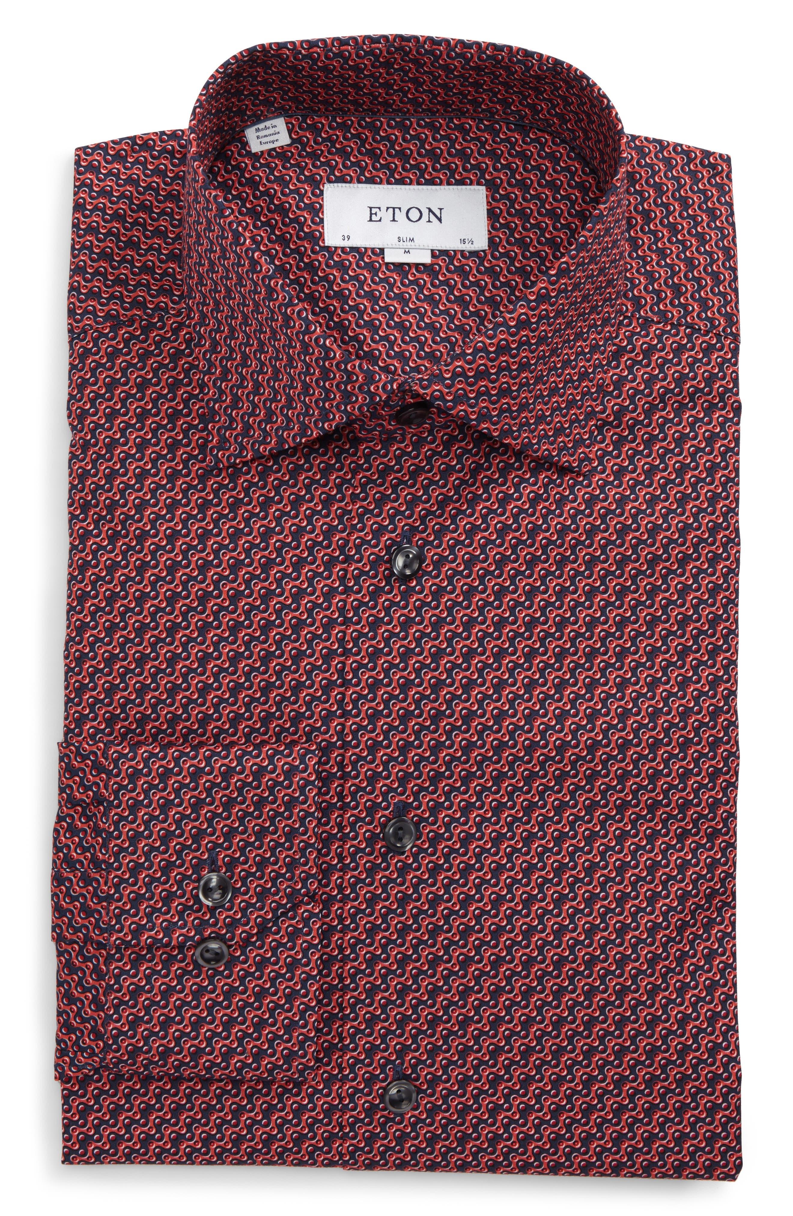 Slim Fit Print Dress Shirt,                             Main thumbnail 1, color,                             649