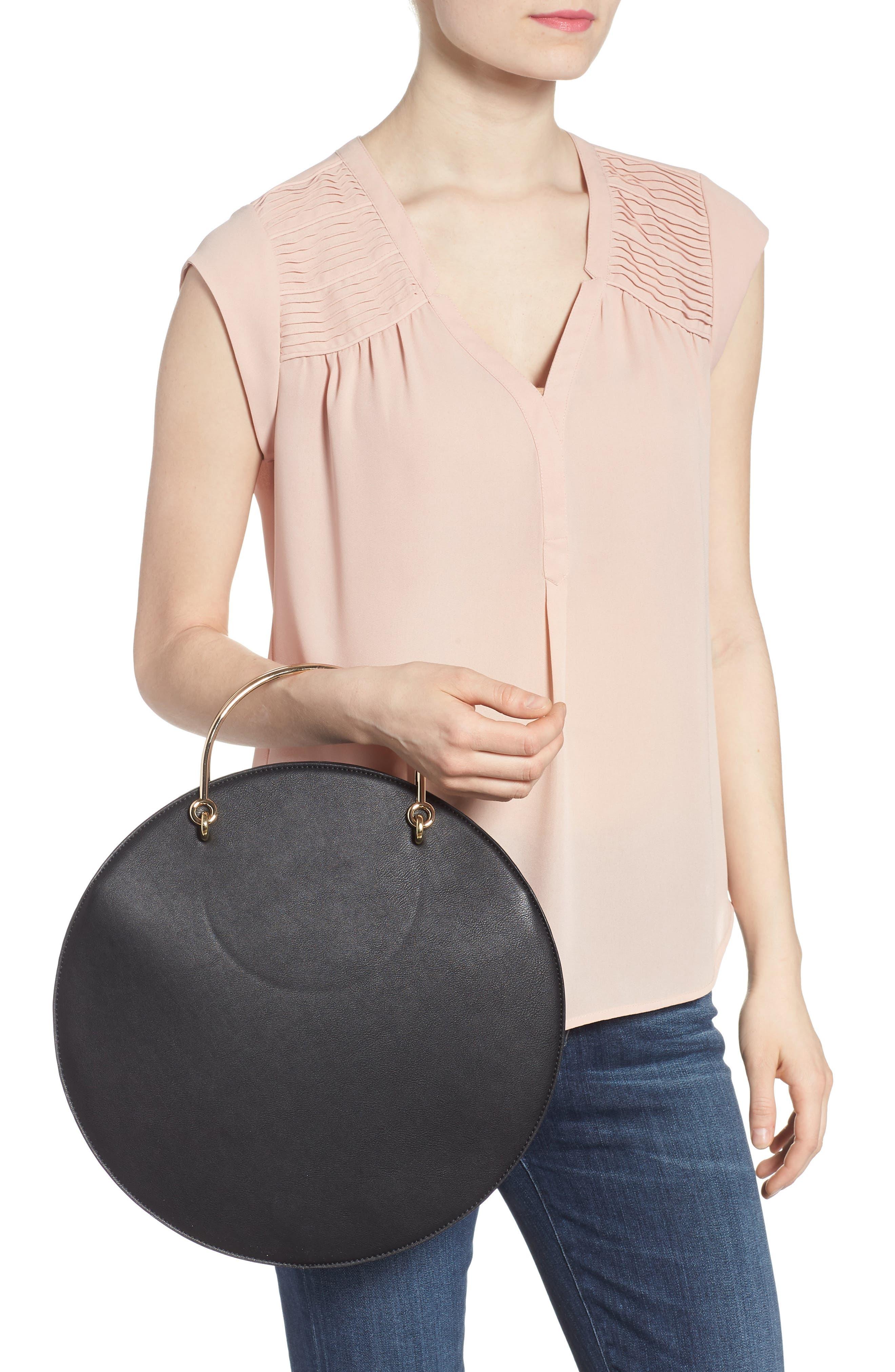 Mali + Lili Vegan Leather Round Top Handle Bag,                             Alternate thumbnail 2, color,                             001