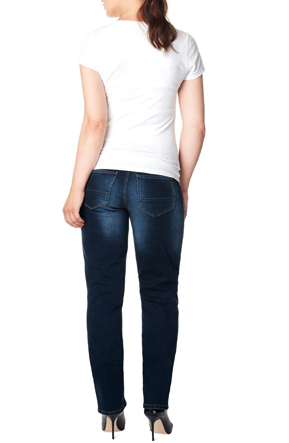 'Mena Comfort' Over the Belly Straight Leg Maternity Jeans,                             Alternate thumbnail 2, color,                             DARK STONE WASH
