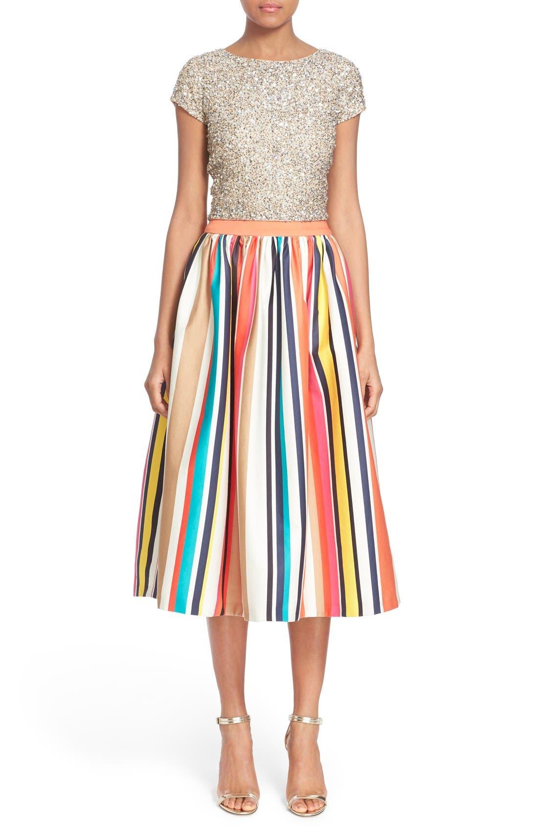'Nikola' Stripe Midi Skirt,                             Alternate thumbnail 6, color,                             615