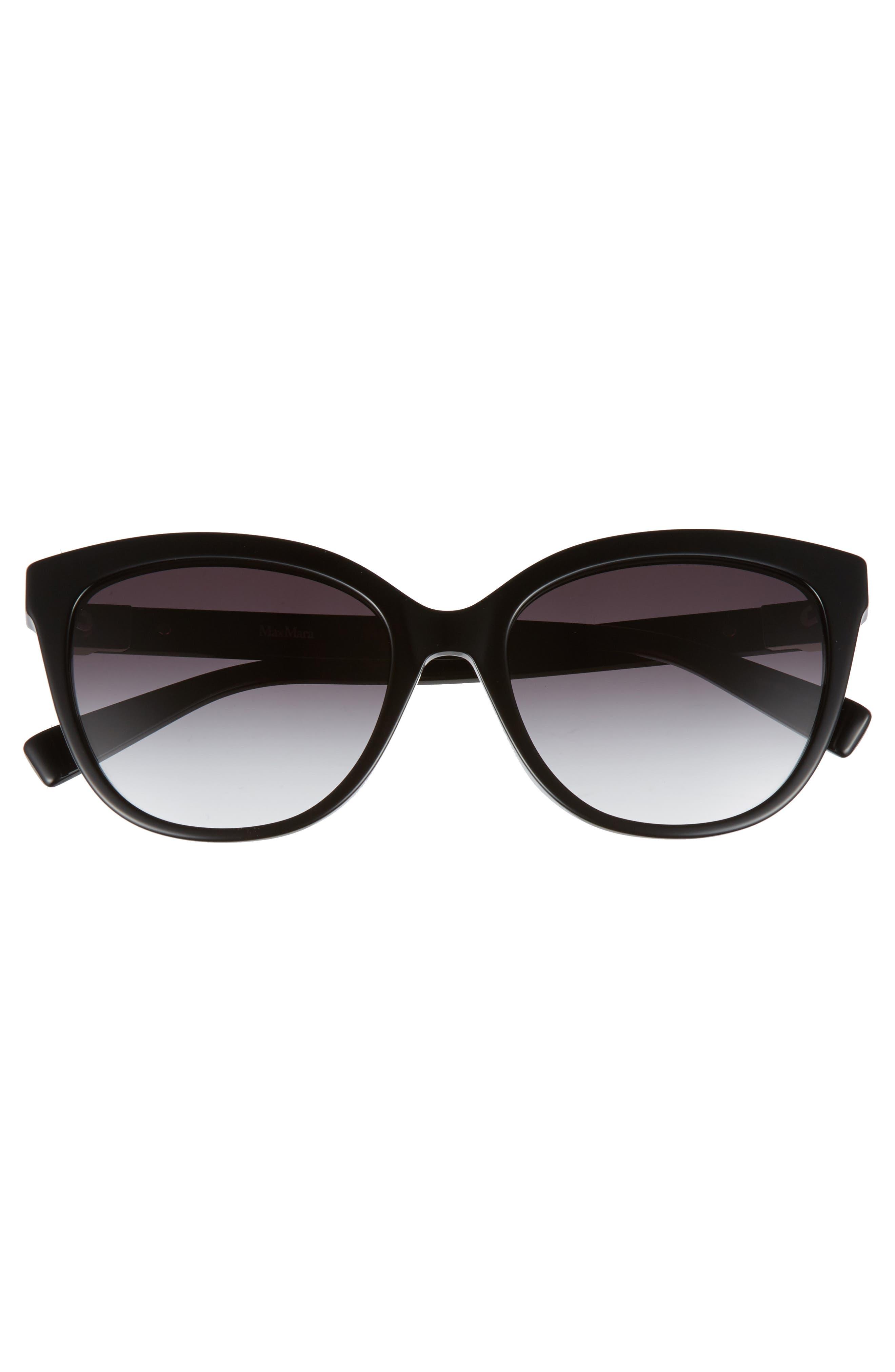 Tile 55mm Cat Eye Sunglasses,                             Alternate thumbnail 3, color,                             BLACK
