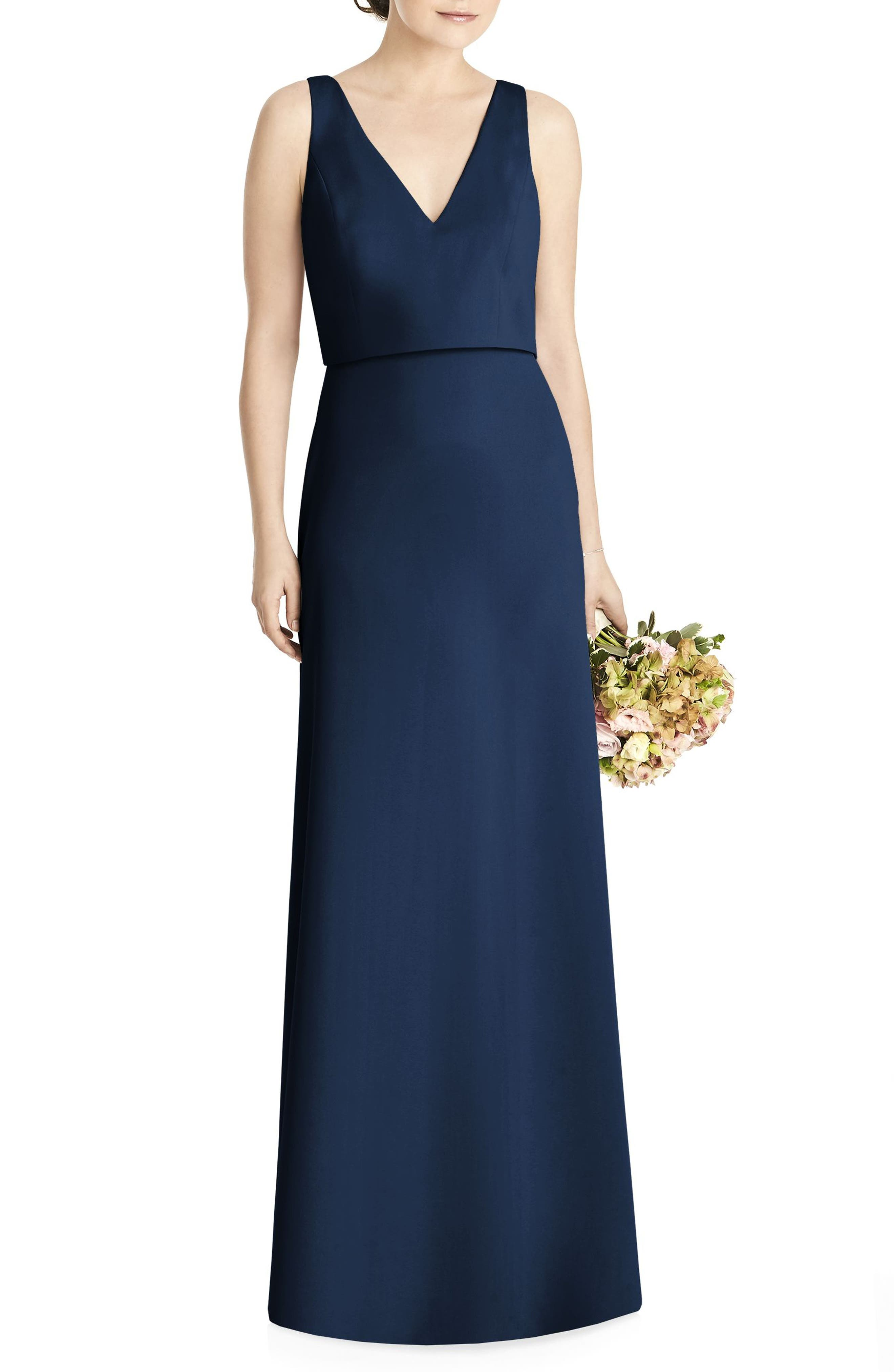 Jy Jenny Yoo Tie Back Crepe Gown, Blue