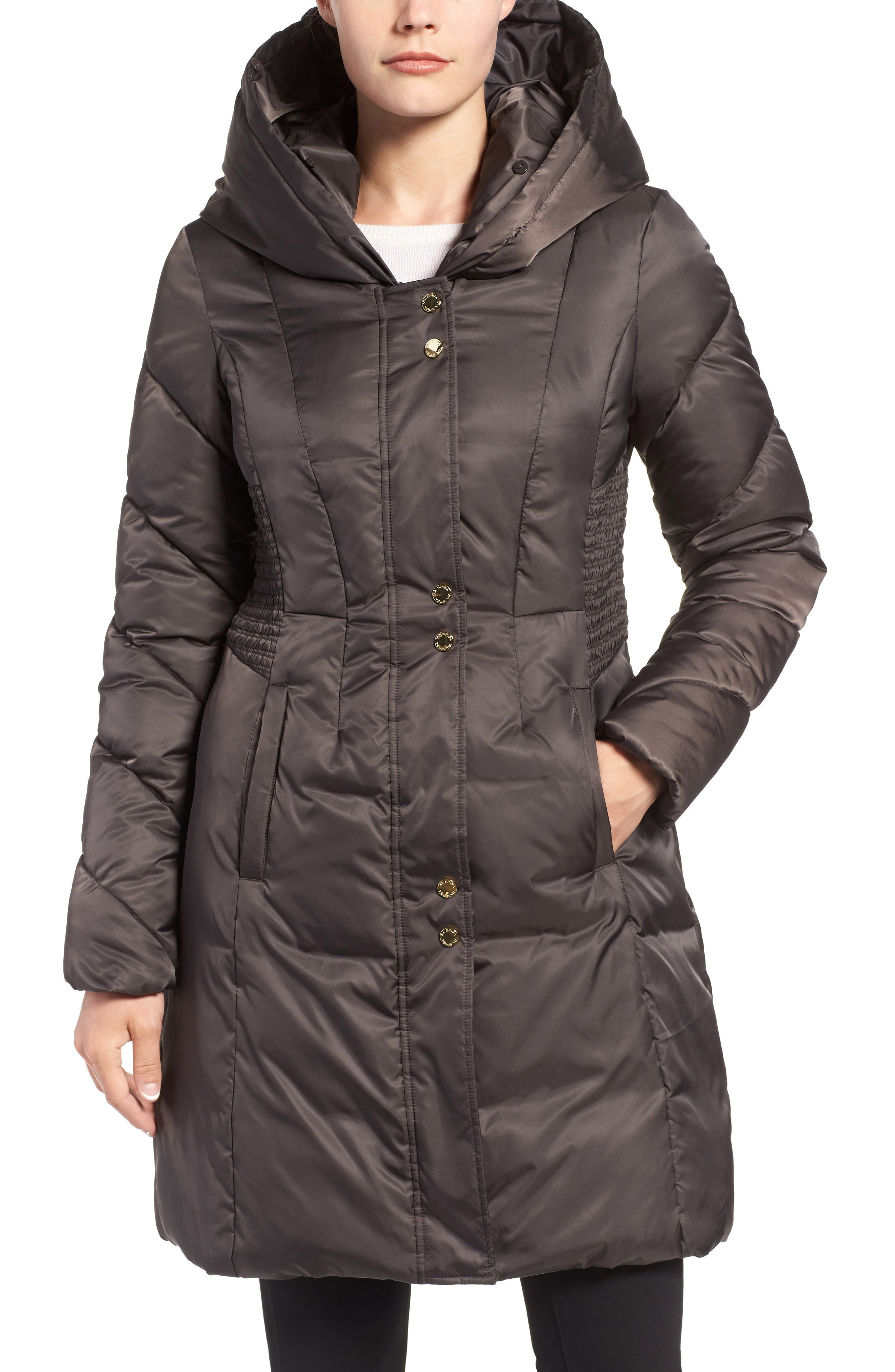 Water Repellent Quilted Puffer Coat with Faux Fur Trim,                             Alternate thumbnail 4, color,                             033