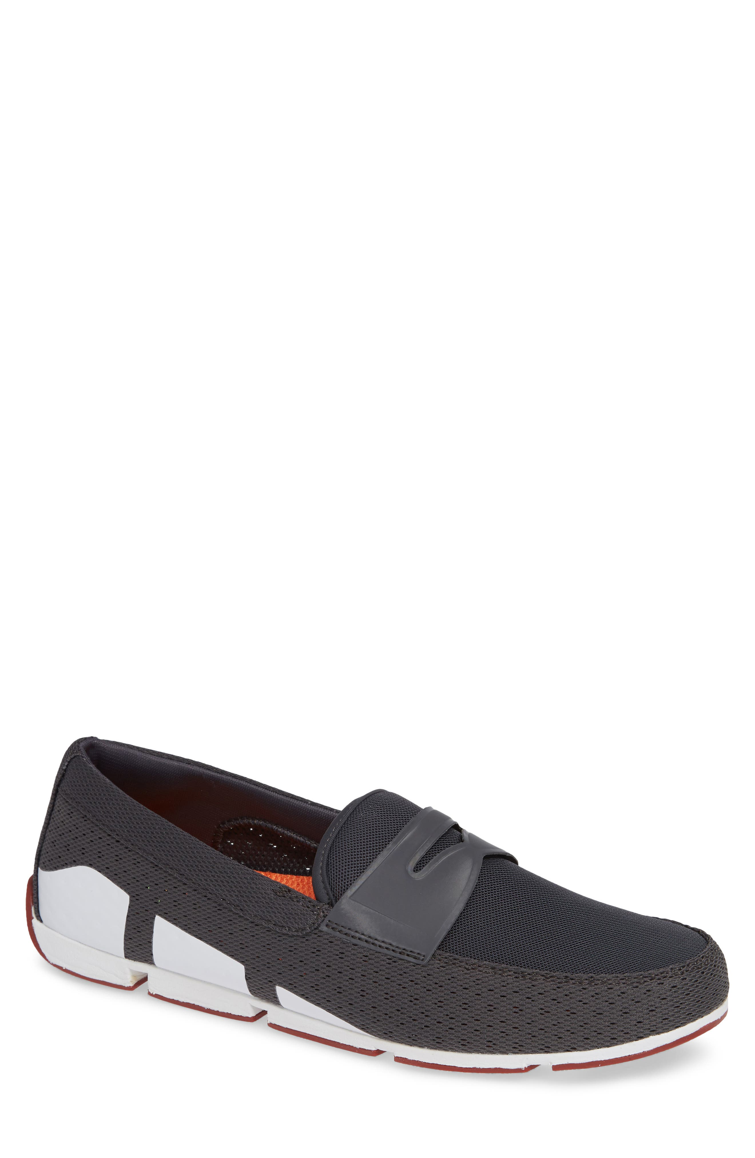 Breeze Penny Loafer,                         Main,                         color, DARK GRAY/RED LACQUER