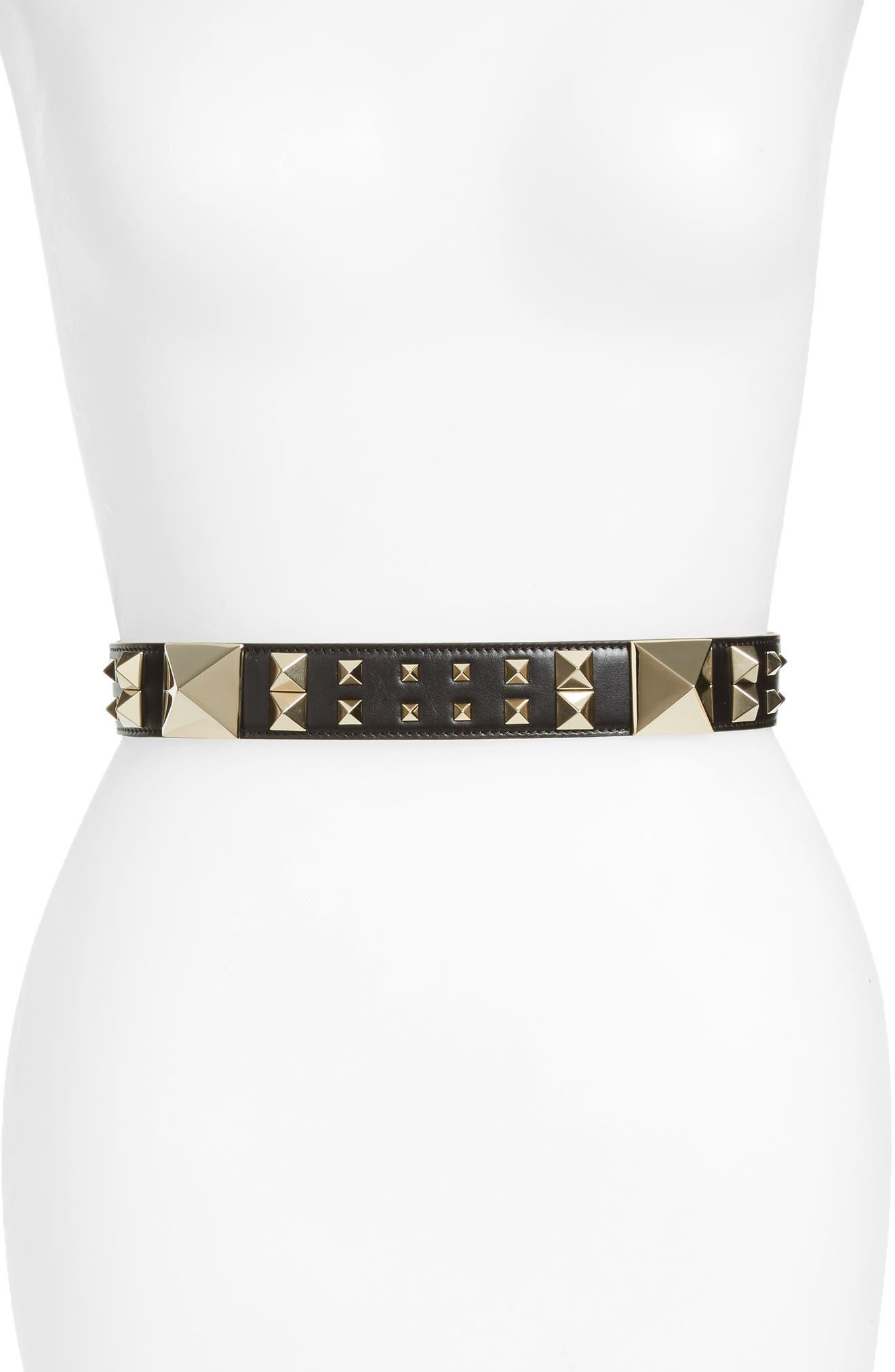 GARAVANI Lovestud Calfskin Leather Belt,                         Main,                         color, 001