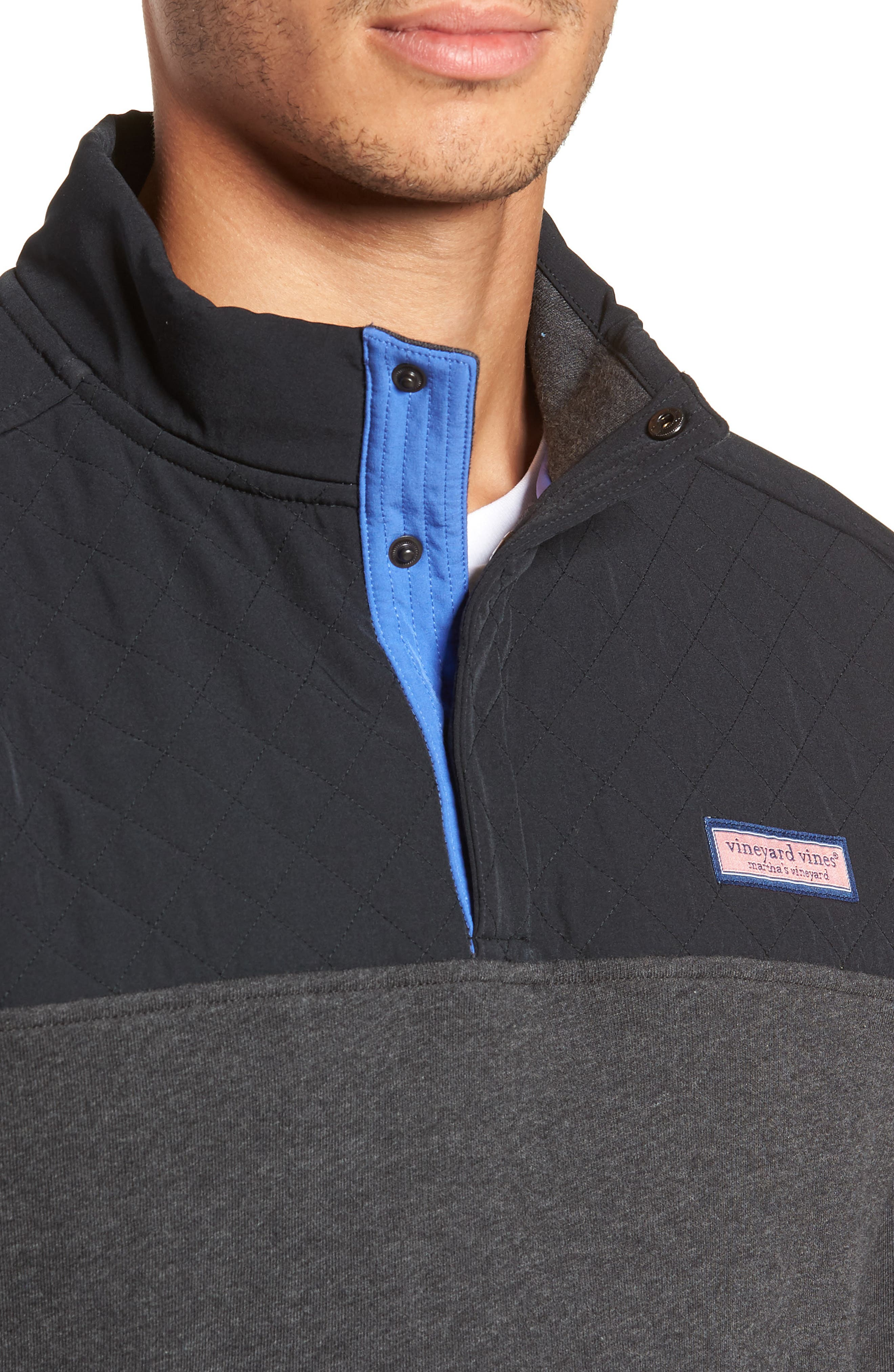 Shep Colorblock Quilted Pullover,                             Alternate thumbnail 4, color,                             JET BLACK