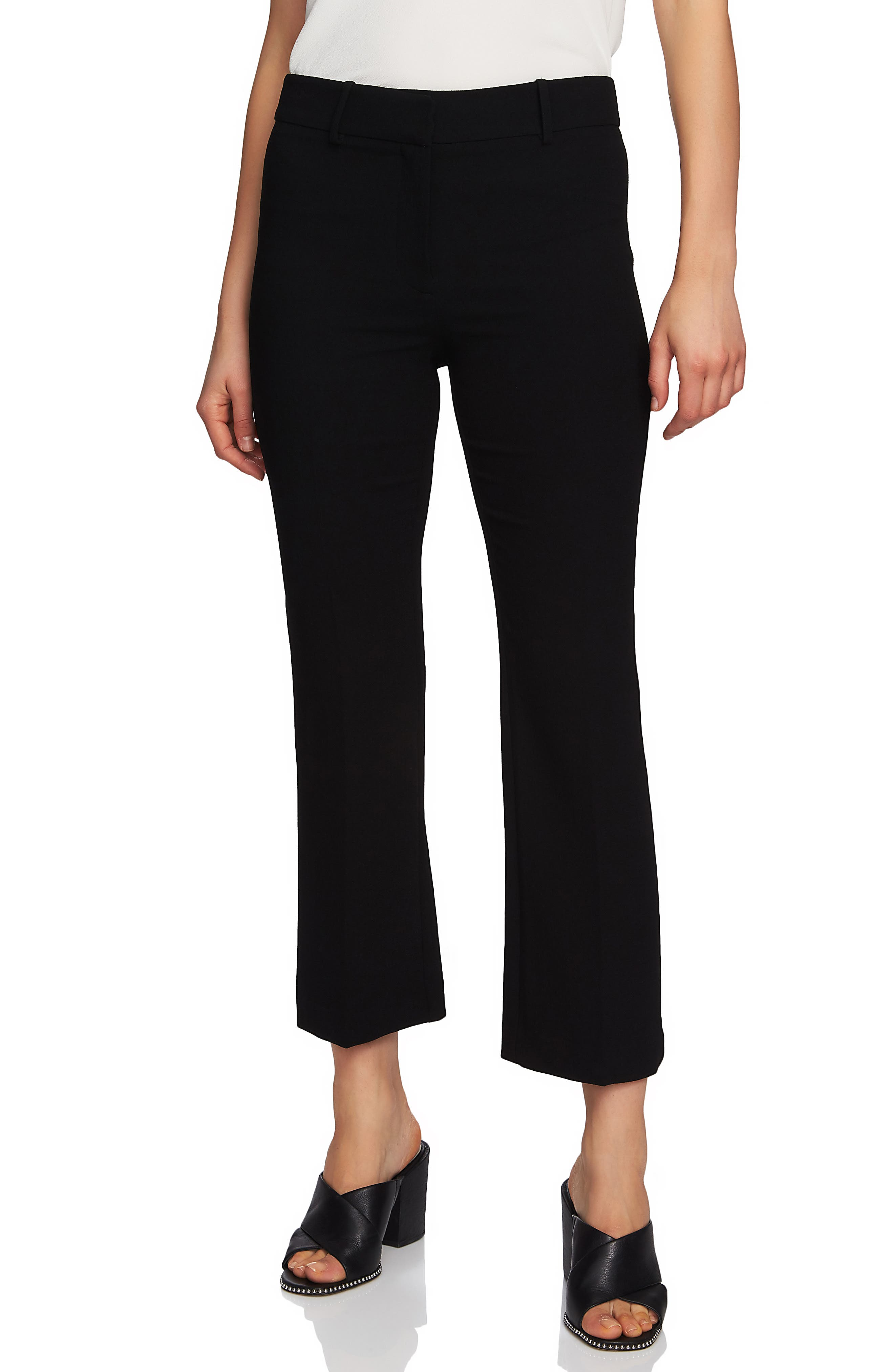 1.STATE Crepe Kick Flare Ankle Pants, Main, color, RICH BLACK