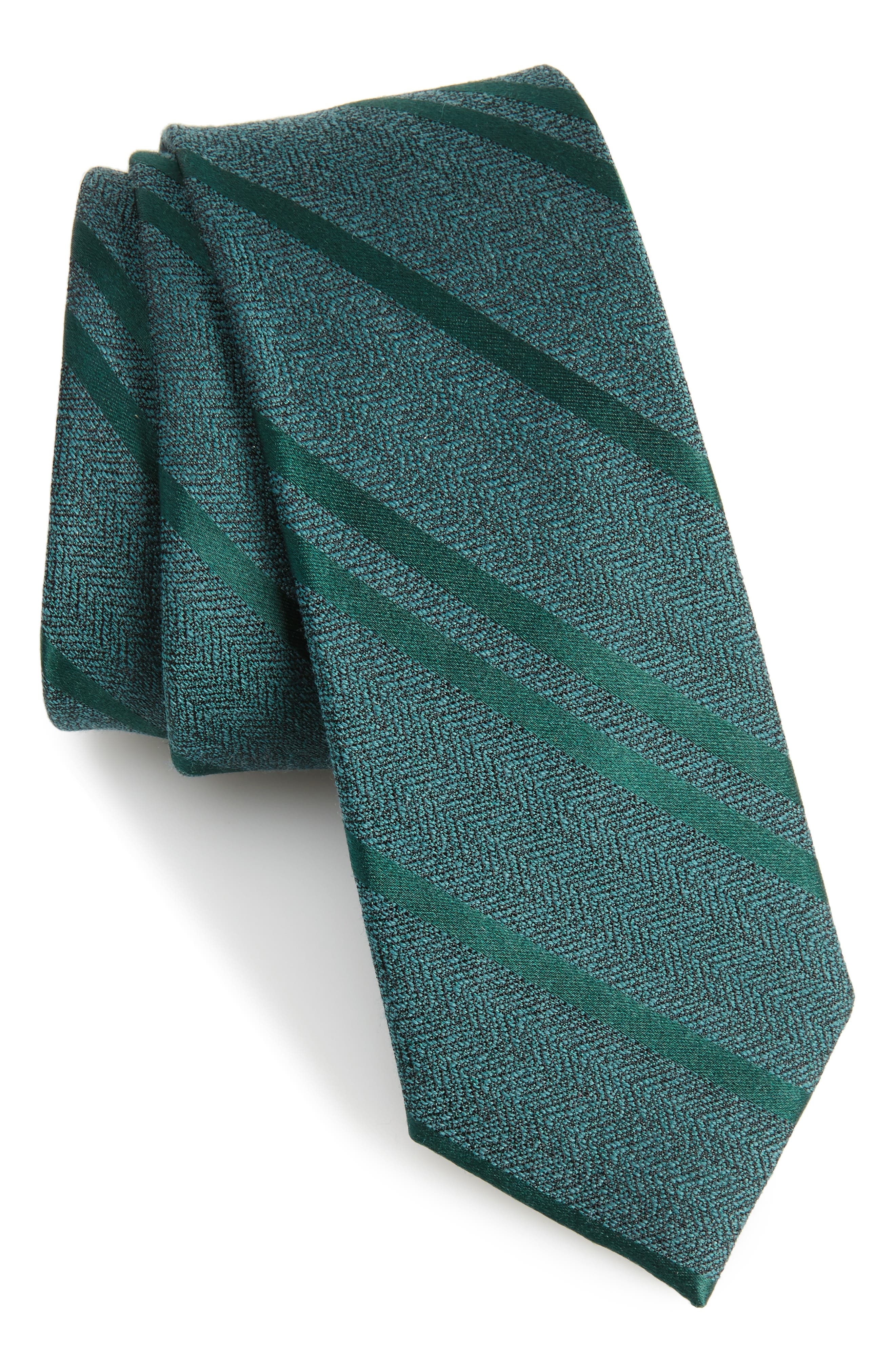 THE TIE BAR Path Stripe Wool & Silk Tie, Main, color, 308
