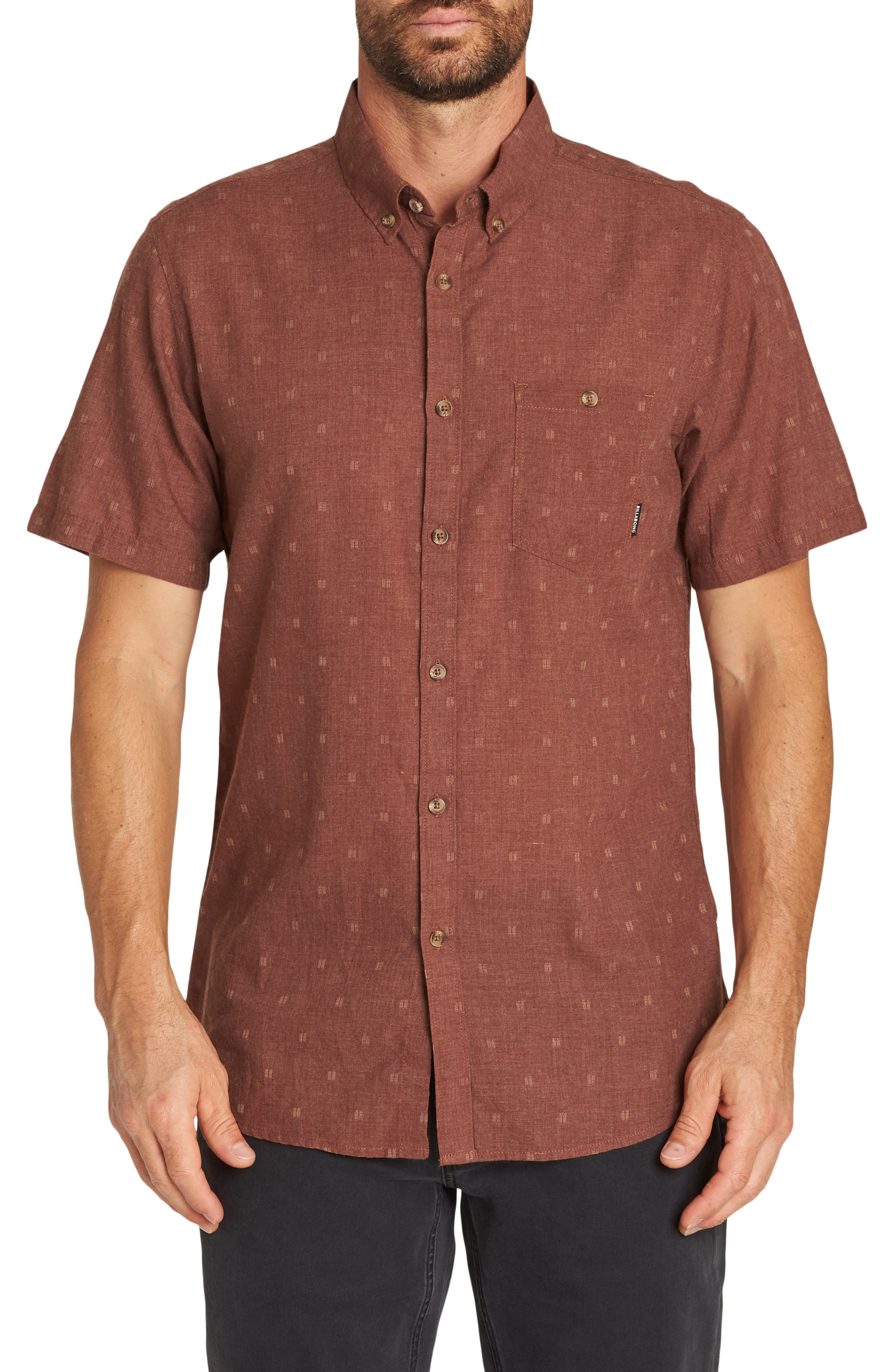 All Day Jacquard Shirt, Main, color, RUST HEATHER
