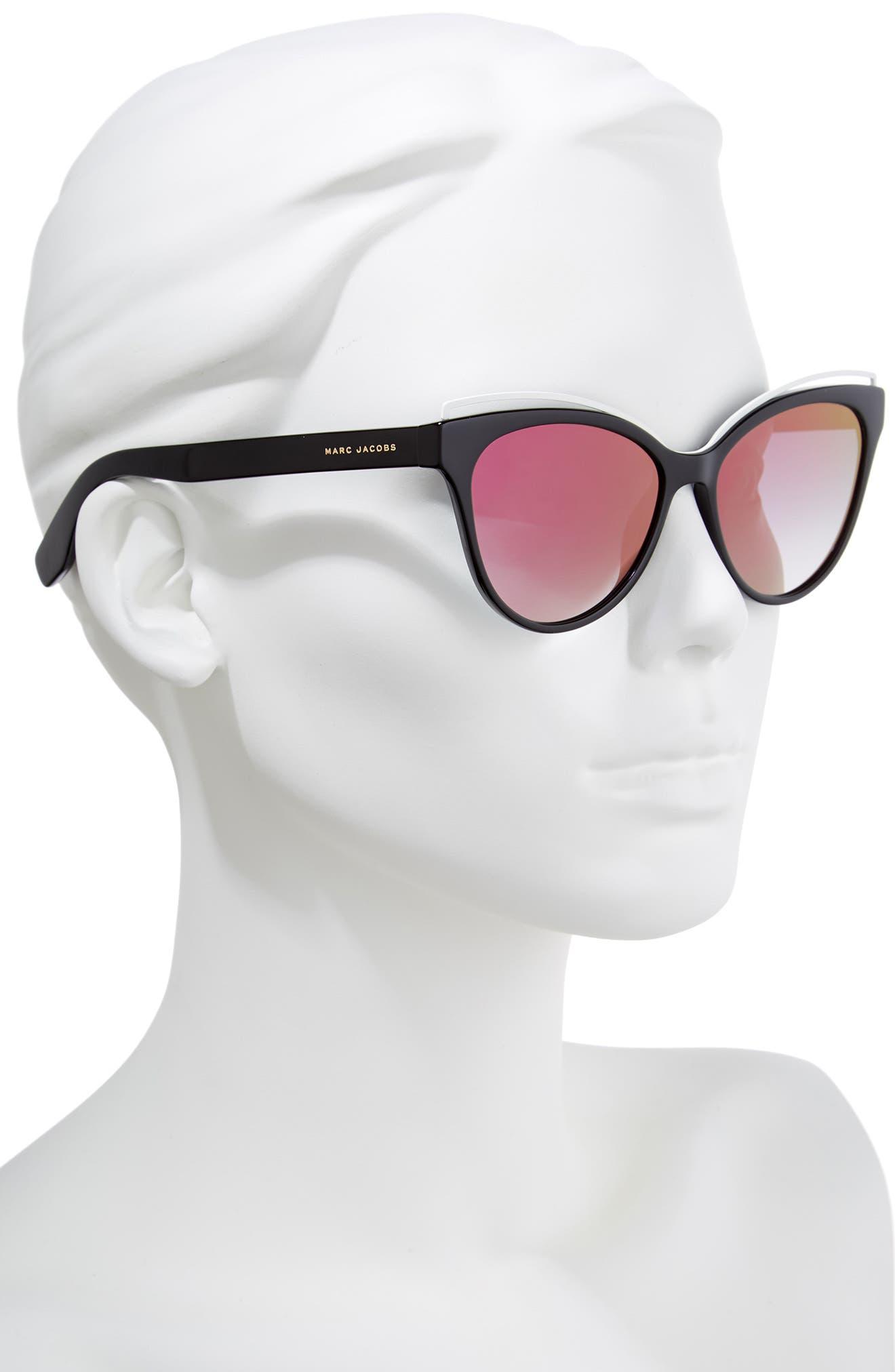 55mm Cat Eye Sunglasses,                             Alternate thumbnail 2, color,                             BLACK/ PINK